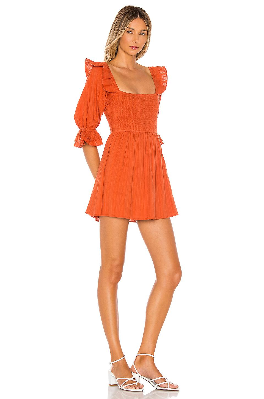 Mini vestido de manga corta abrielle MAJORELLE de Algodón de color Naranja