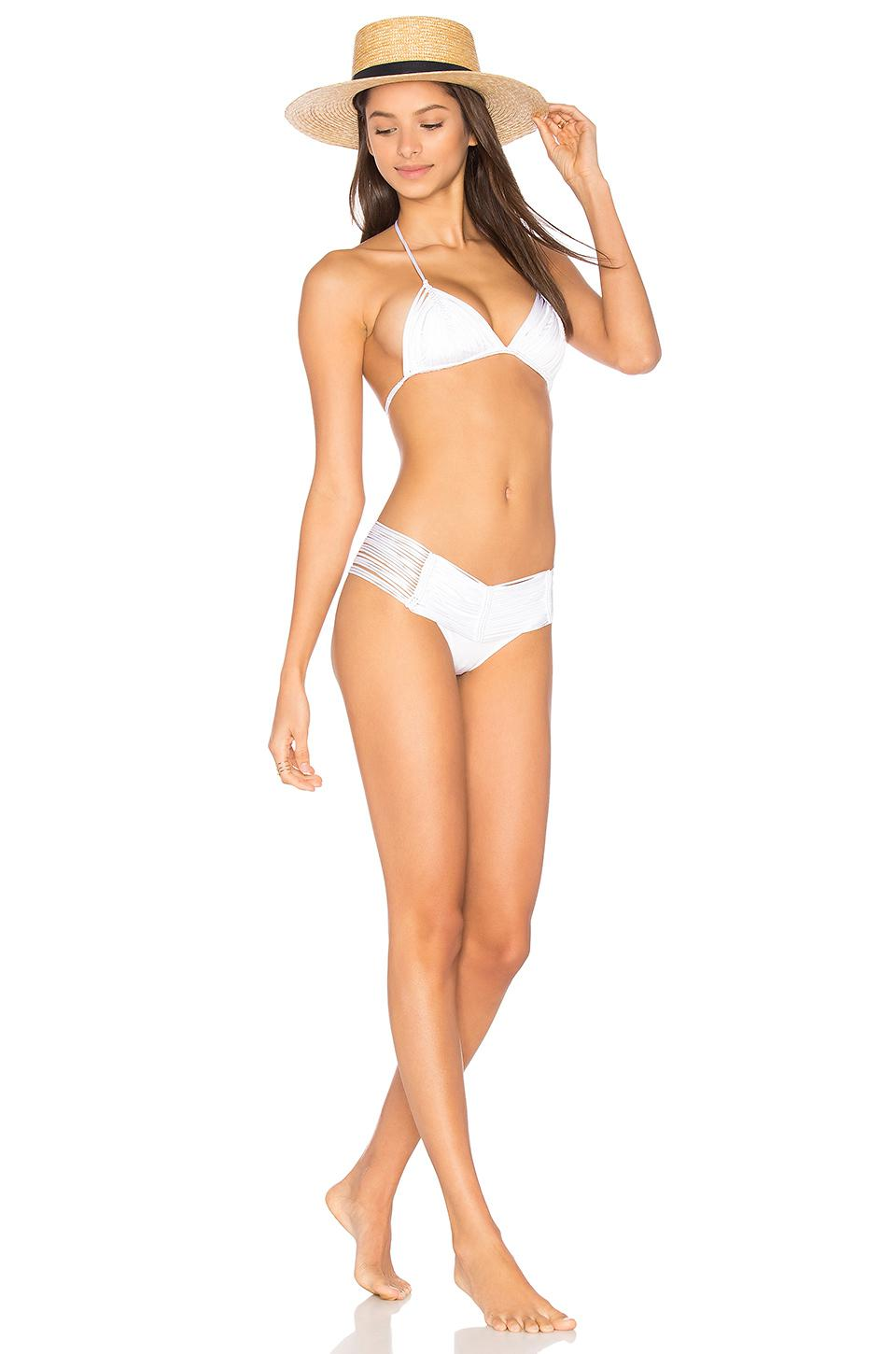 Indah Synthetic Fallen Macrame Bottom in White