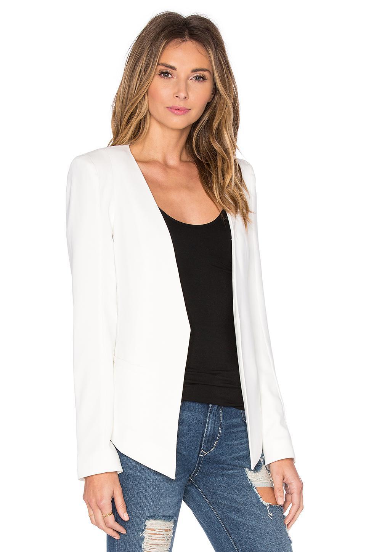 James Jeans Synthetic V Boyfriend Crepe Blazer in Pearl White (White)