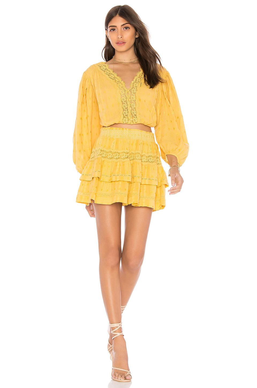 LoveShackFancy Cotton Florence Top in Marigold (Yellow)