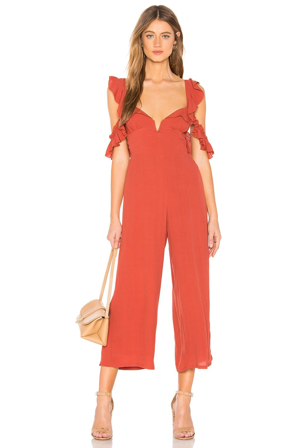 b5d40d58820e Lyst - Blue Life Ruffle Sleeve Jumpsuit in Red