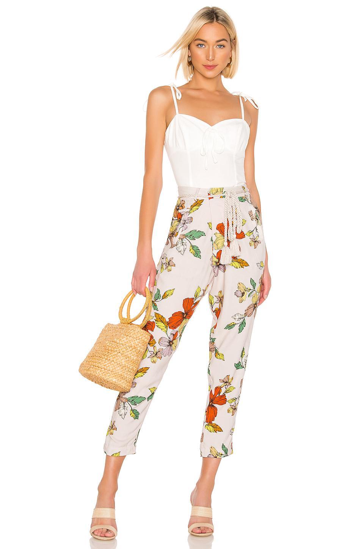 Pantalones de cintura alta con flores misha House of Harlow 1960 de color Neutro