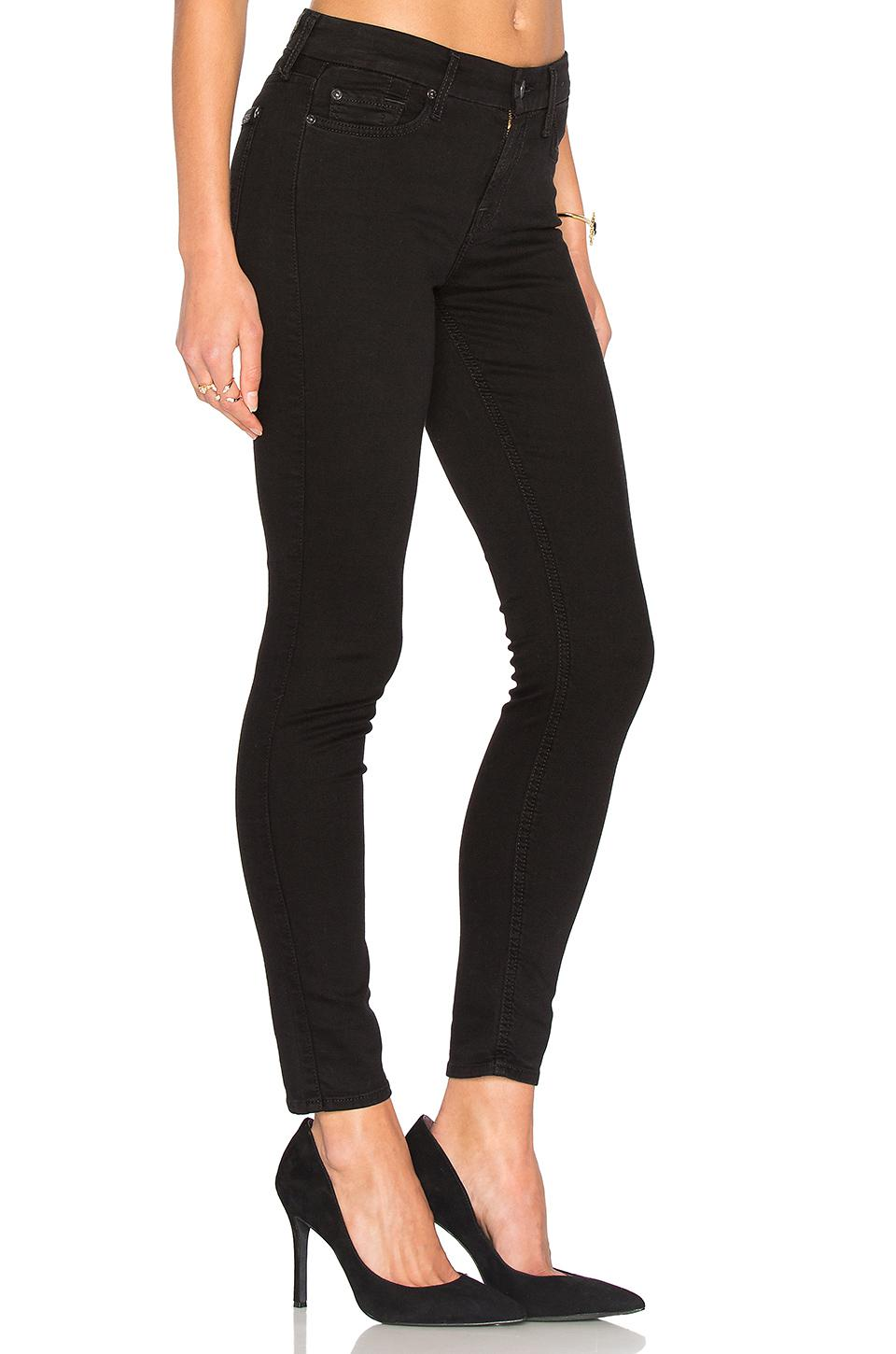7 For All Mankind Cotton Bair Ankle Skinny In Black Lyst