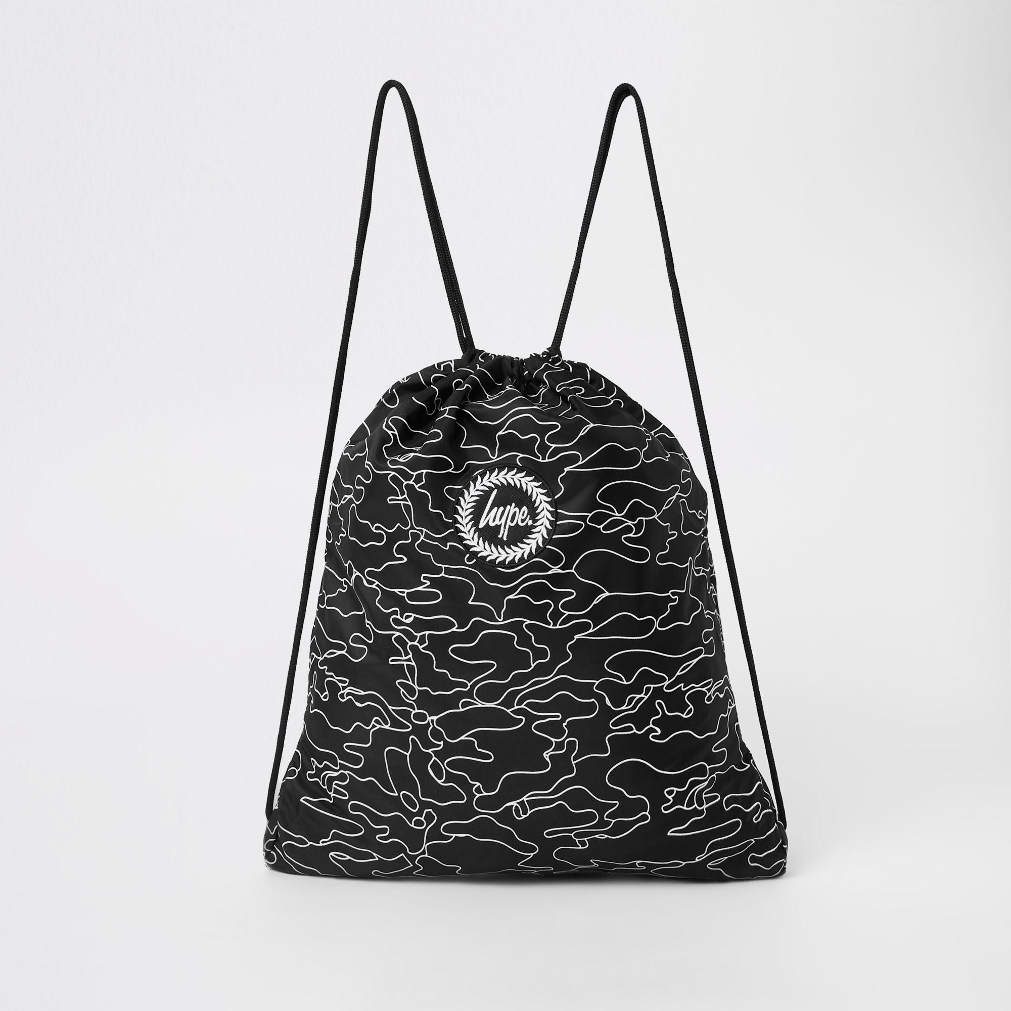 Lyst - River Island Hype Black Logo Print Drawstring Bag in Black ... c3441beb37cf3