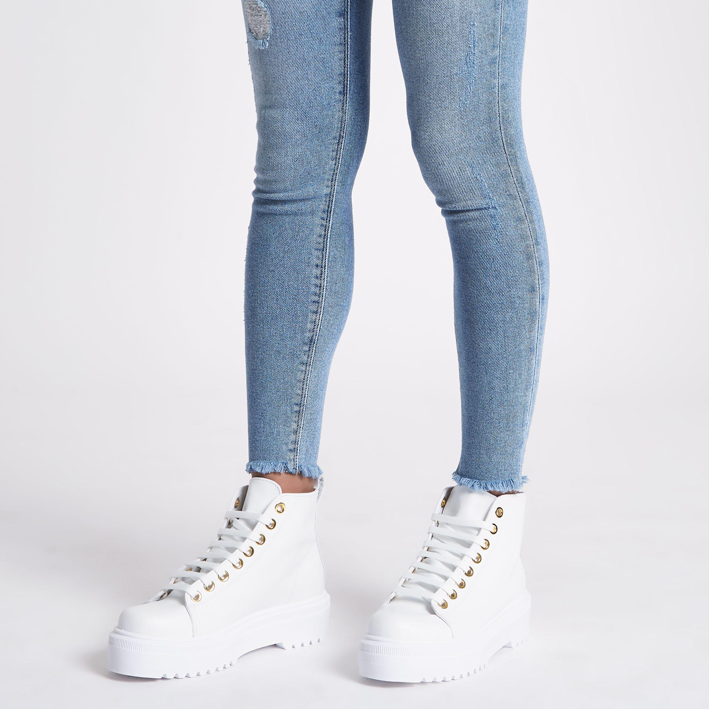 River Island White Chunky Digger Lace Up Boots