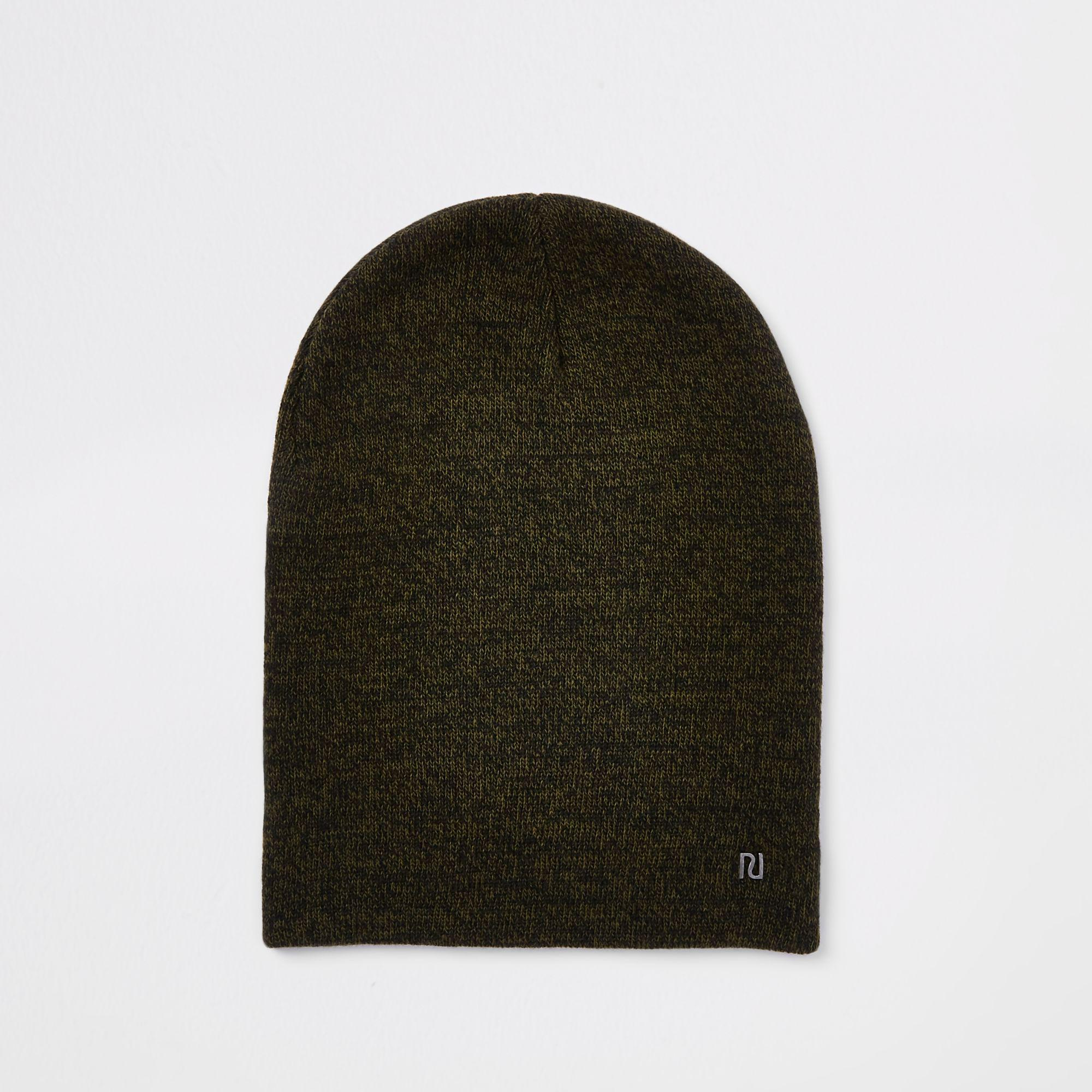 e0eaf65bae4 River Island Green Twist Knit Slouch Beanie Hat in Green for Men - Lyst