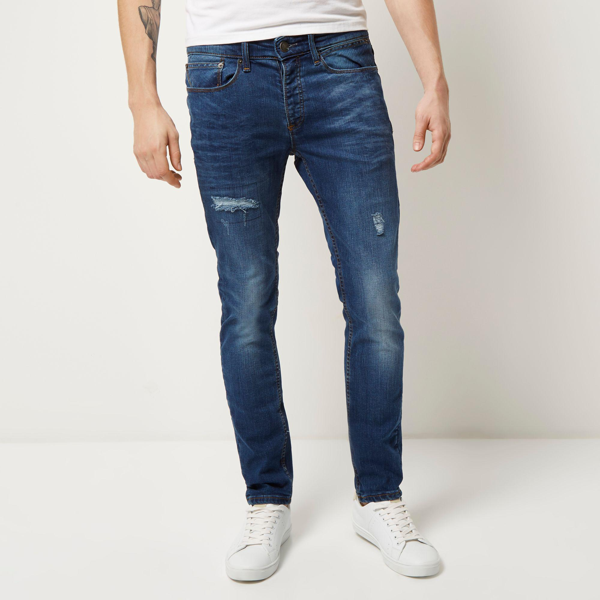 River Island Denim Mid Wash Ripped Sid Skinny Jeans in Blue for Men