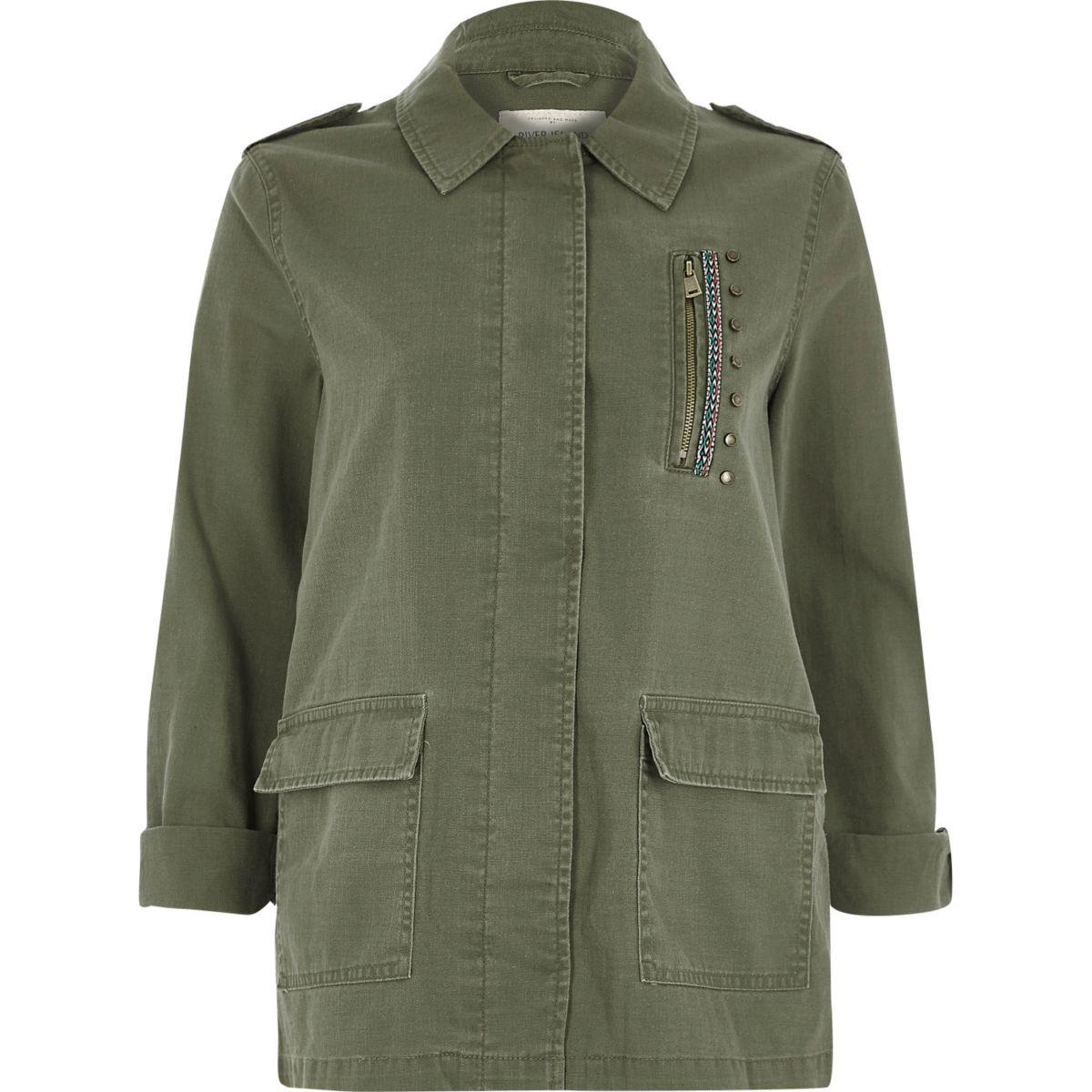 lyst river island khaki green patch back army jacket in green. Black Bedroom Furniture Sets. Home Design Ideas
