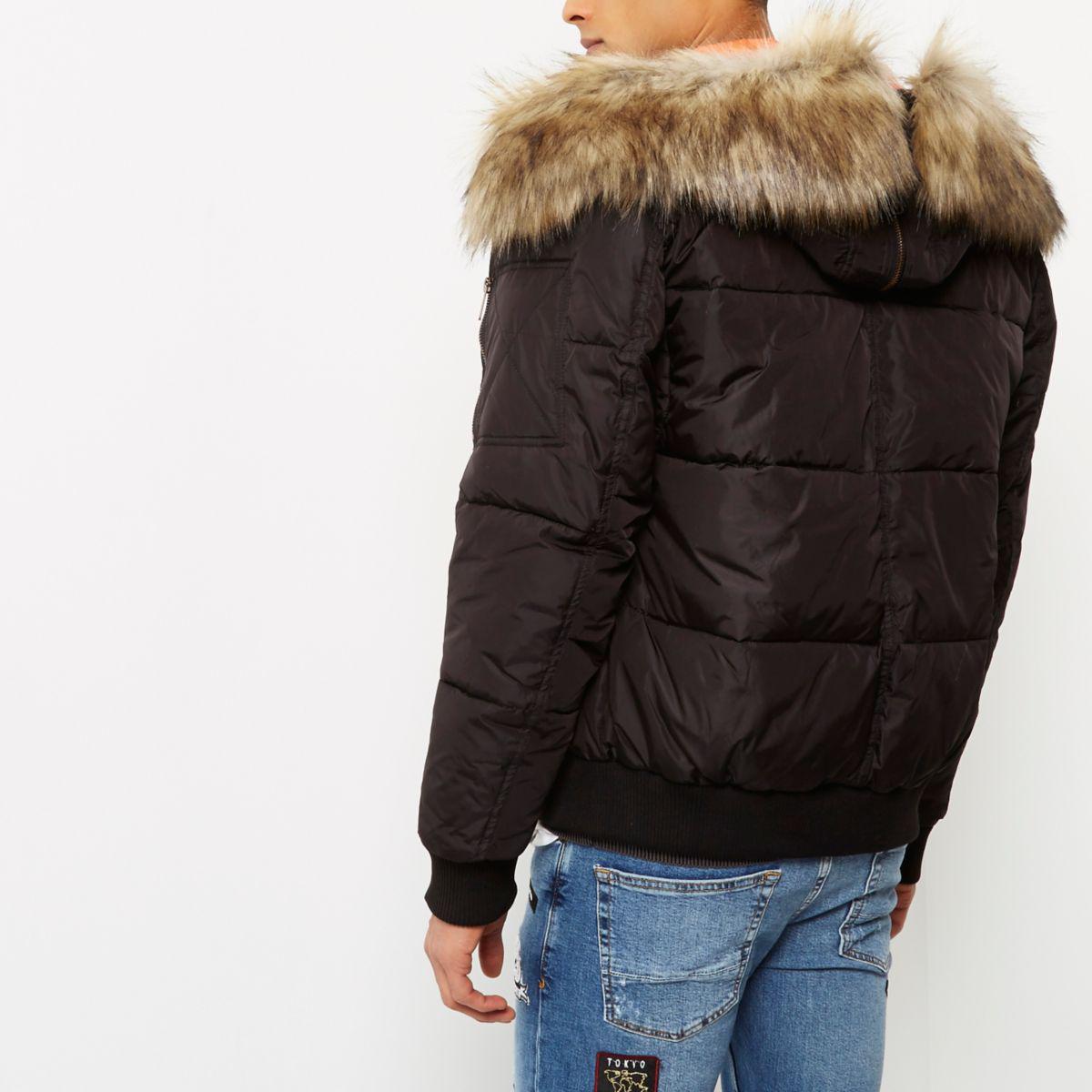 e28353ddd43e Lyst - River Island Faux Fur Trim Hooded Puffer Jacket in Black for Men