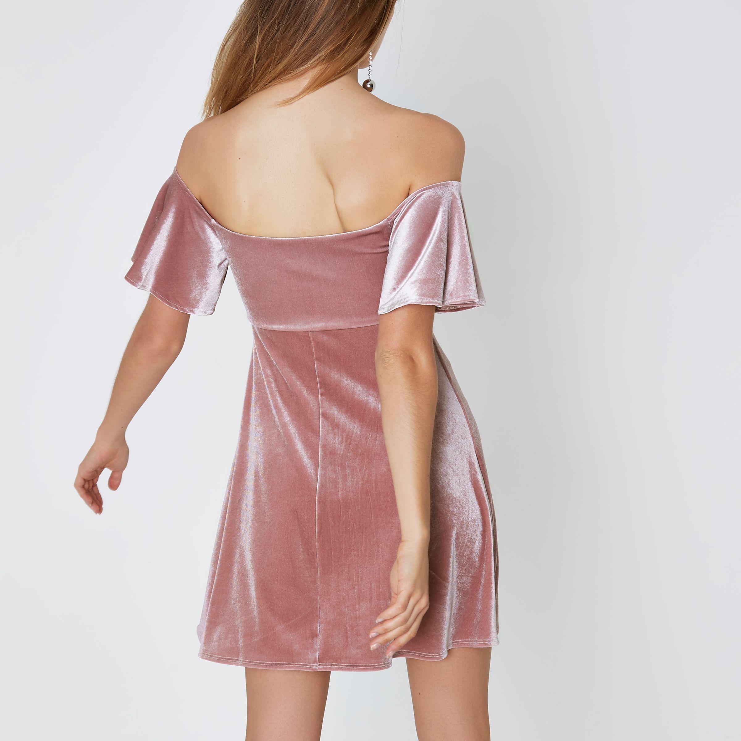 2f6c98caba4e5 River Island Pink Velvet Ruched Bardot Mini Skater Dress in Pink - Lyst