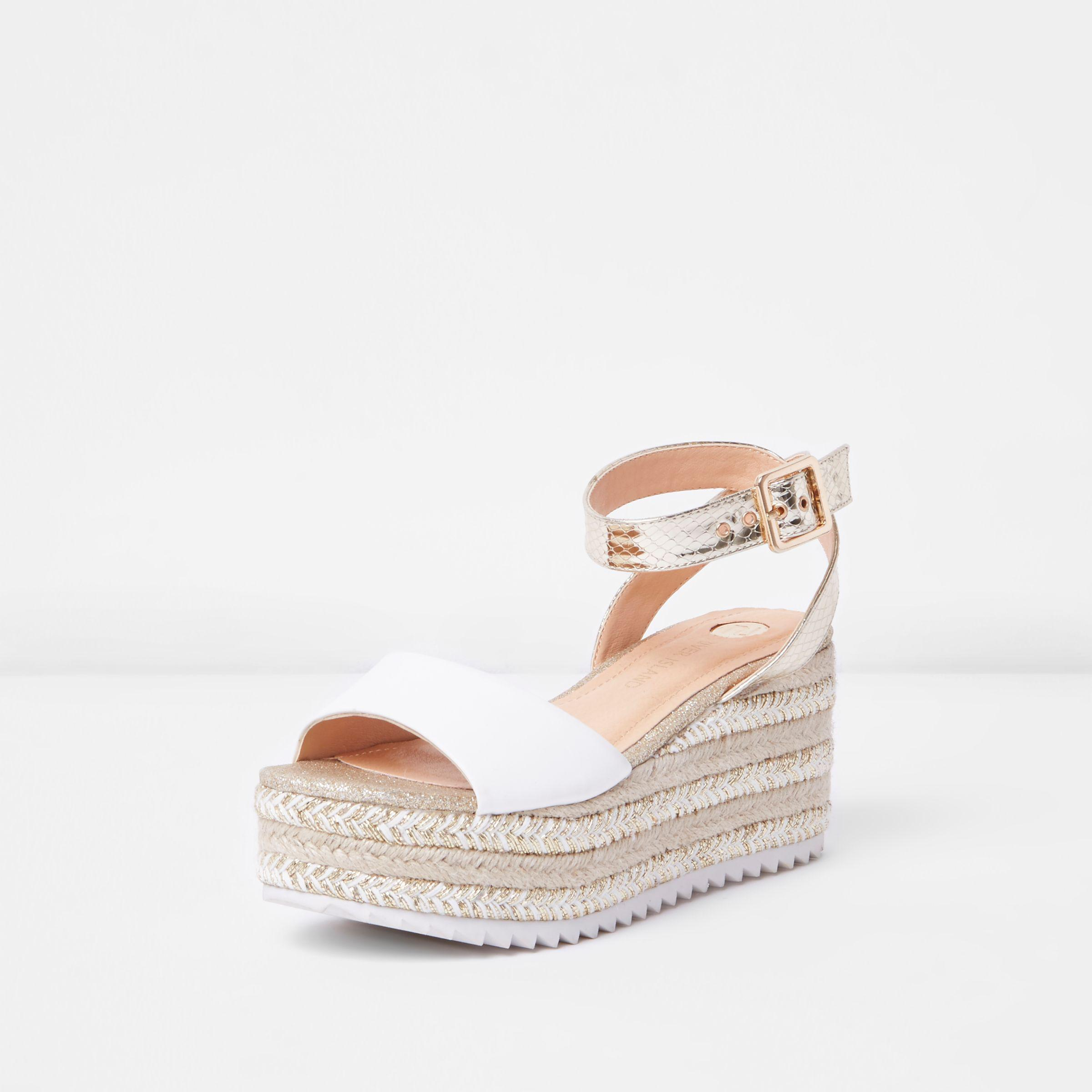 3e21e3cdf41 River Island Gold Two Part Espadrille Wedge Sandals in Metallic - Lyst