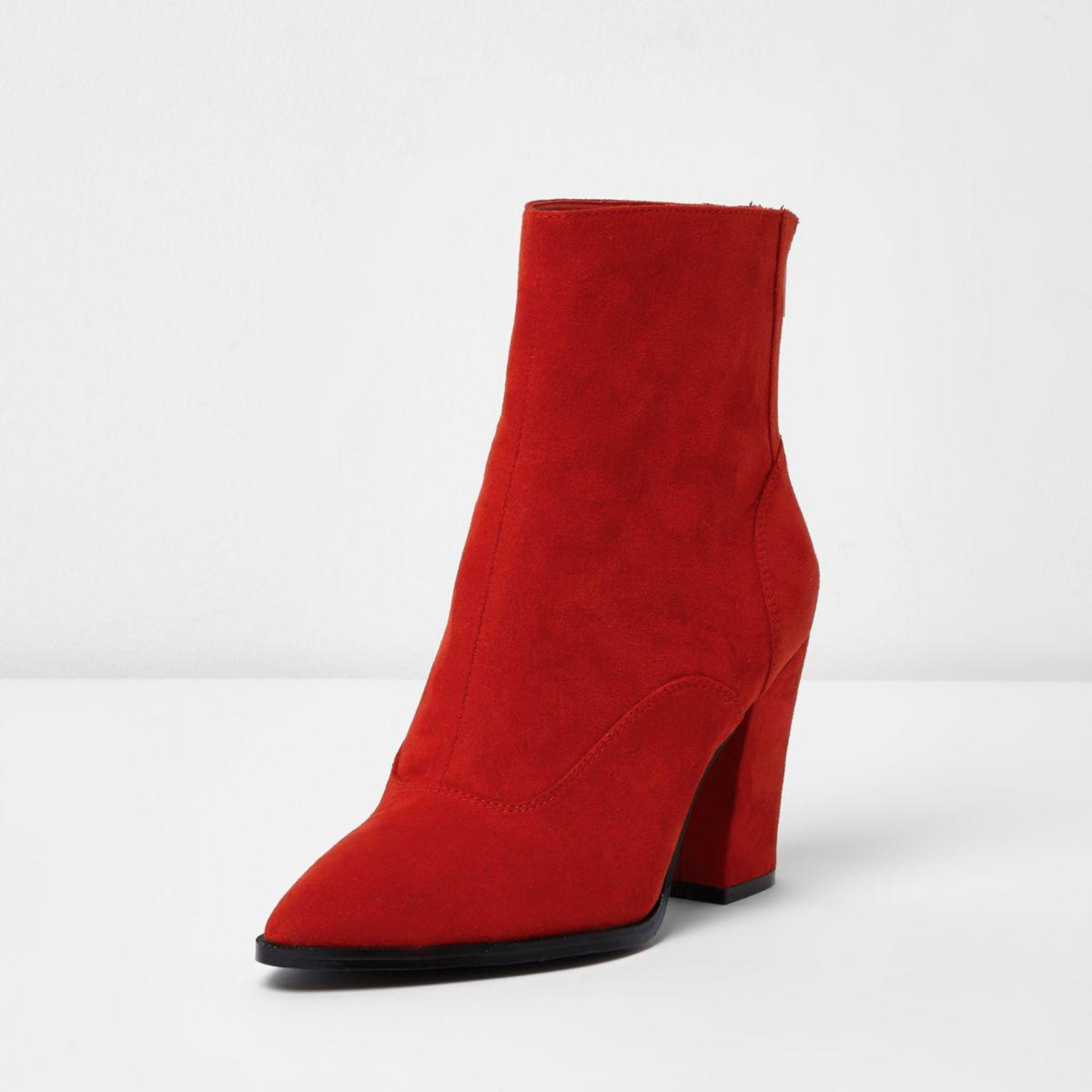 Lyst River Island Red Block Heel Pointed Boots In Red