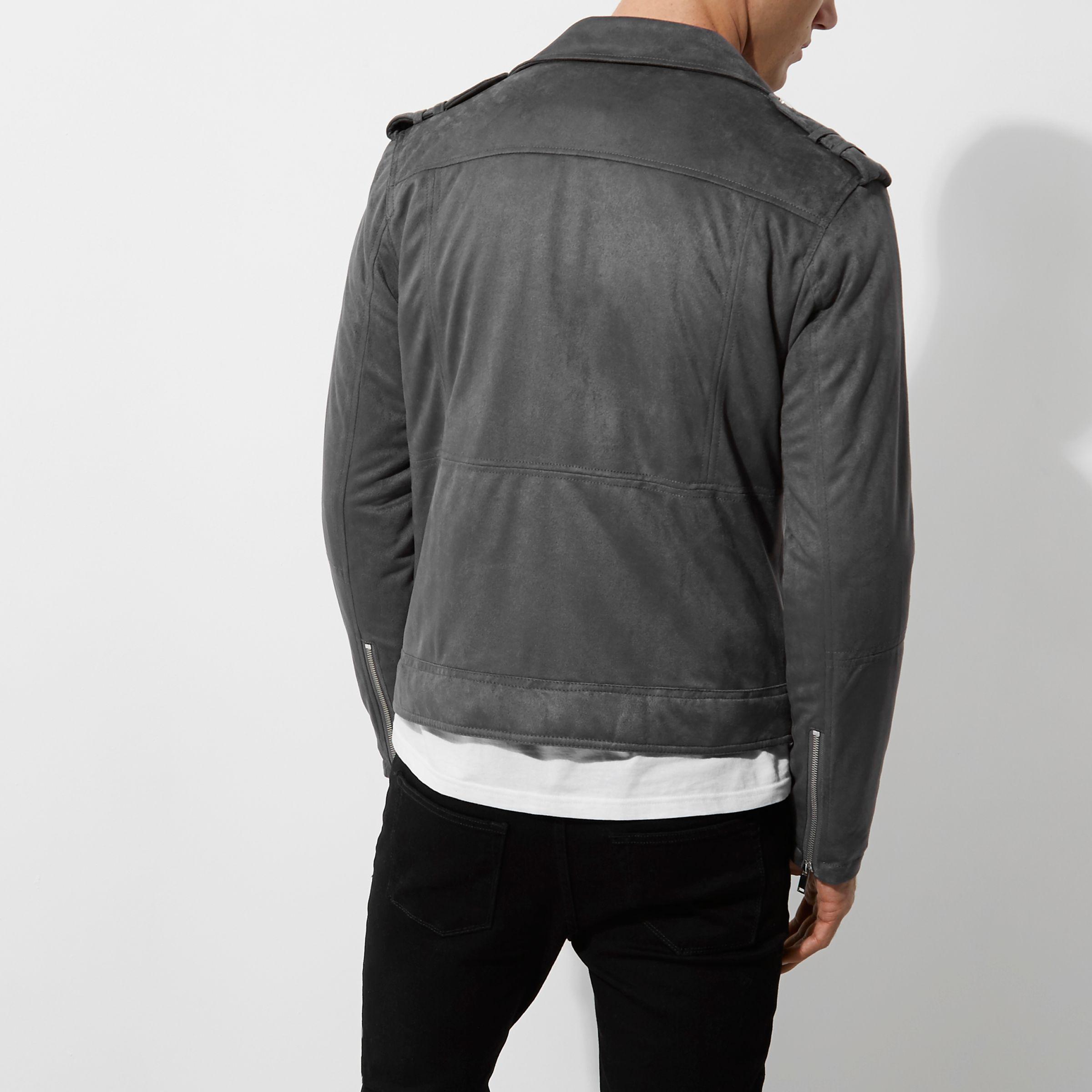 River Island Grey Faux Suede Biker Jacket in Grey for Men