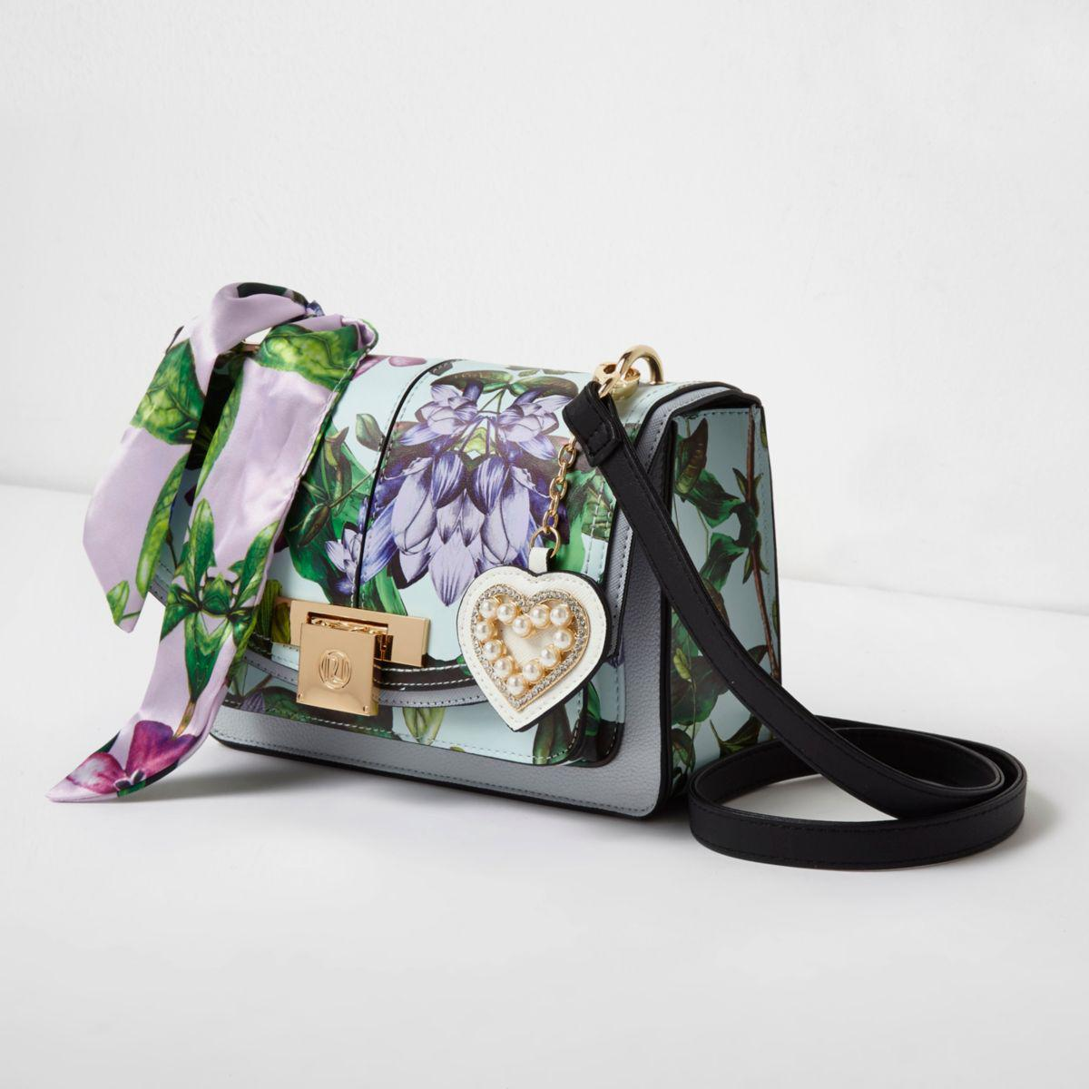 Lyst - River Island Blue Floral Print Lock Front Cross Body Bag Blue Floral Print Lock Front ...