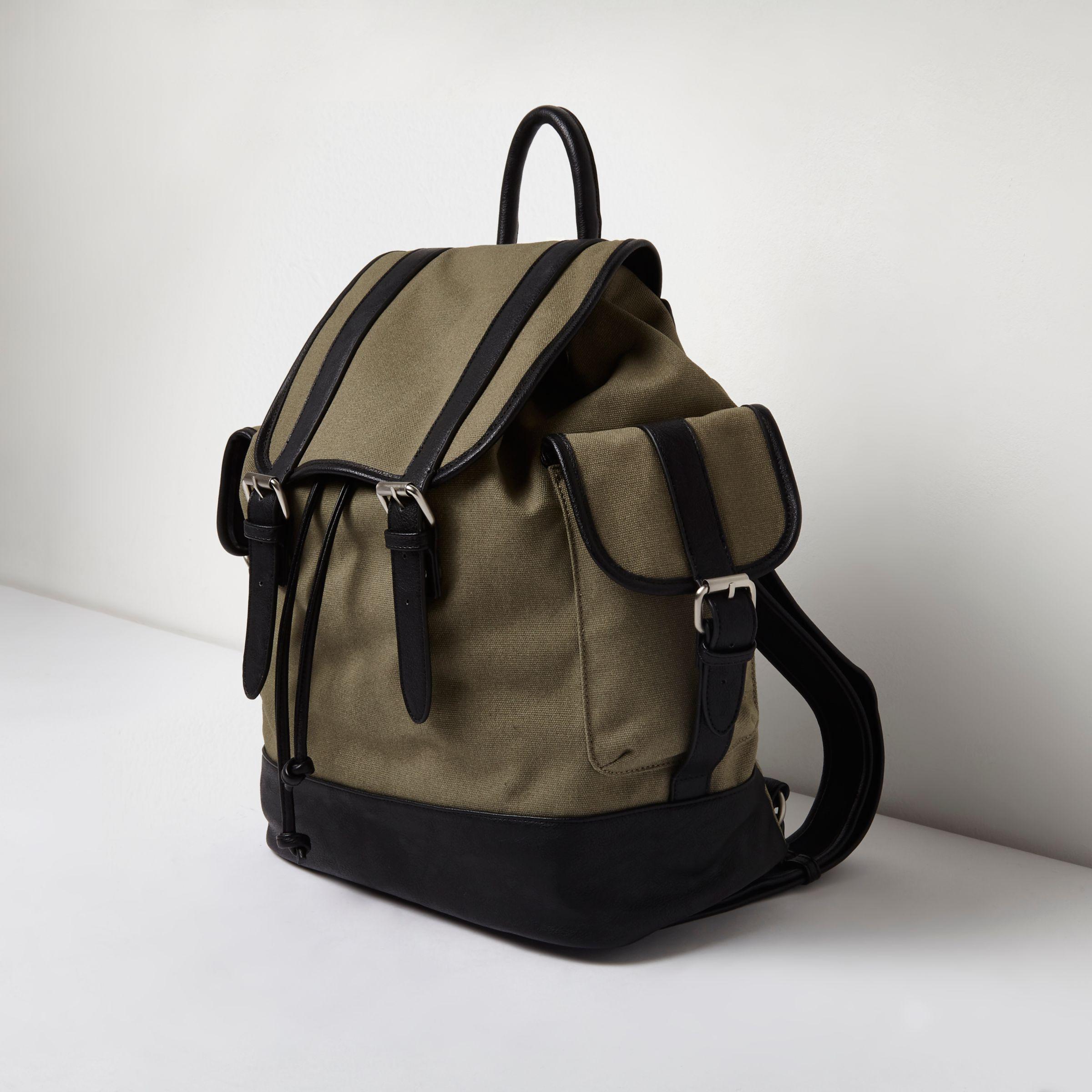 River Island Khaki Green Canvas Flap Top Backpack for Men