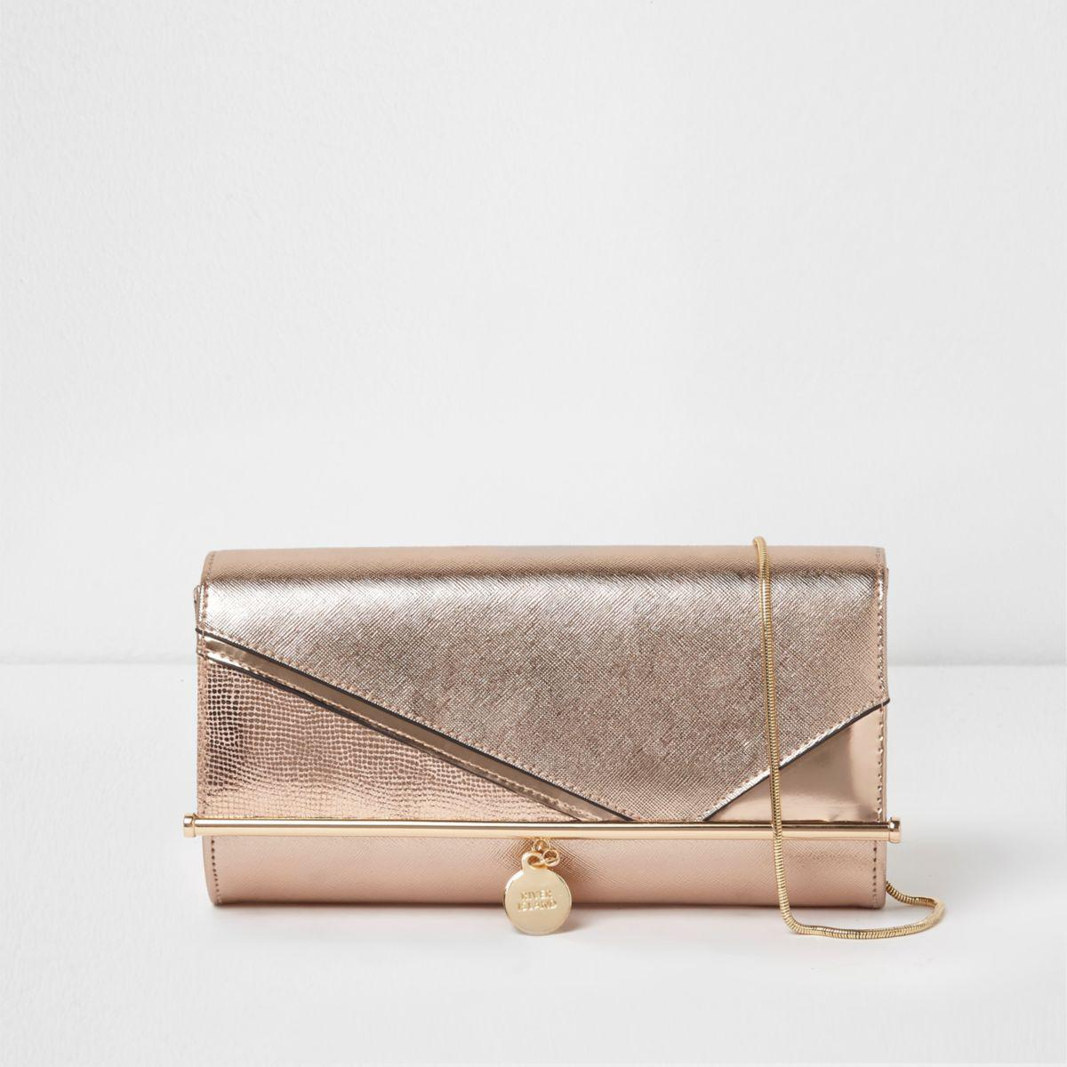 Lyst River Island Rose Gold Bar Front Foldover Lclutch