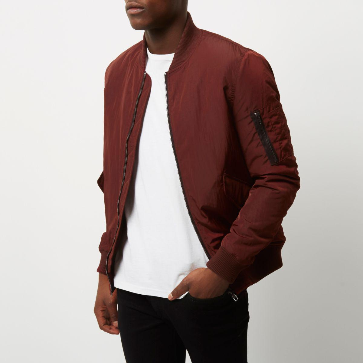 River Island Synthetic Burgundy Ma1 Bomber Jacket in Red for Men