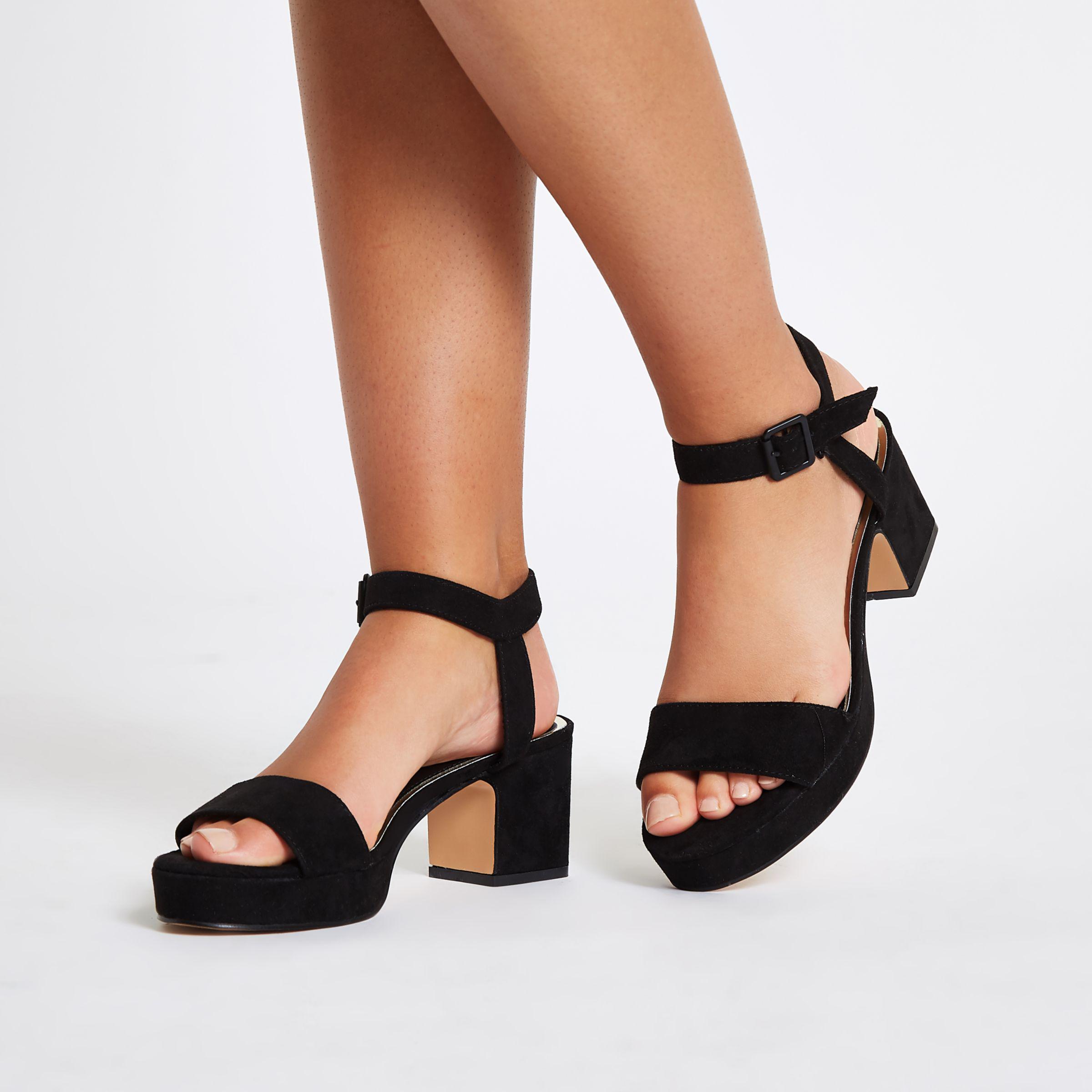 0e07e1a3a79 Lyst - River Island Black Open Toe Block Heel Sandals in Black
