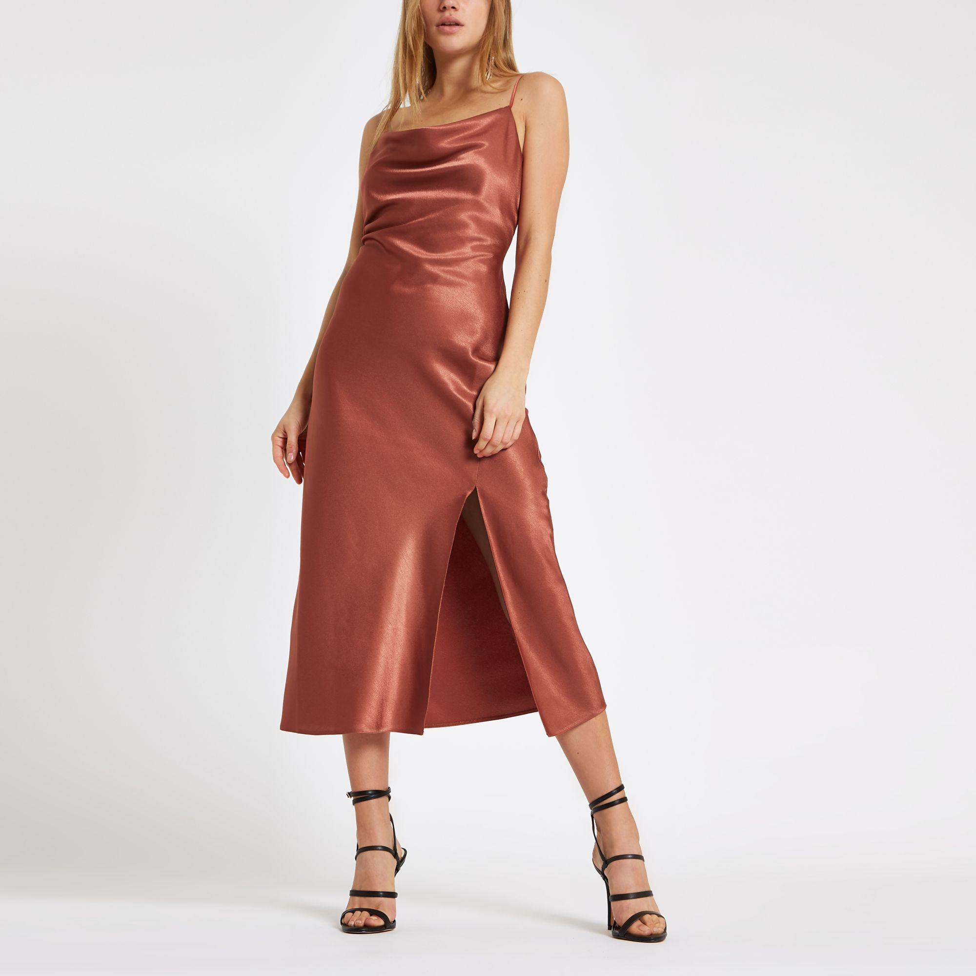 Cowl Neck Satin Wedding Dresses: River Island Rust Satin Lace Cowl Neck Maxi Dress In Brown