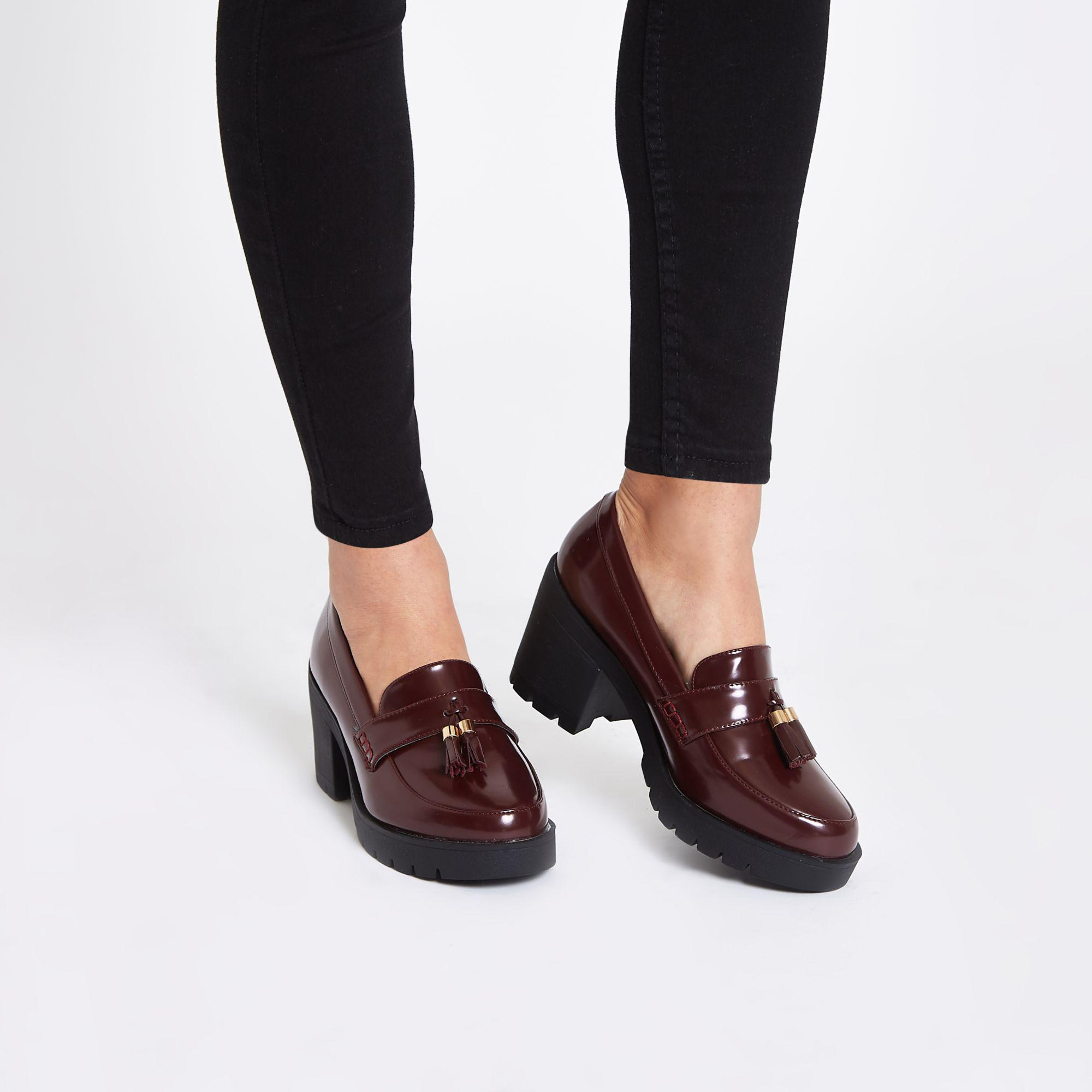 Lyst River Island Heeled Chunky Loafers In Burgundy Red D Shoes Slip On Mocasine Casual Black Gallery