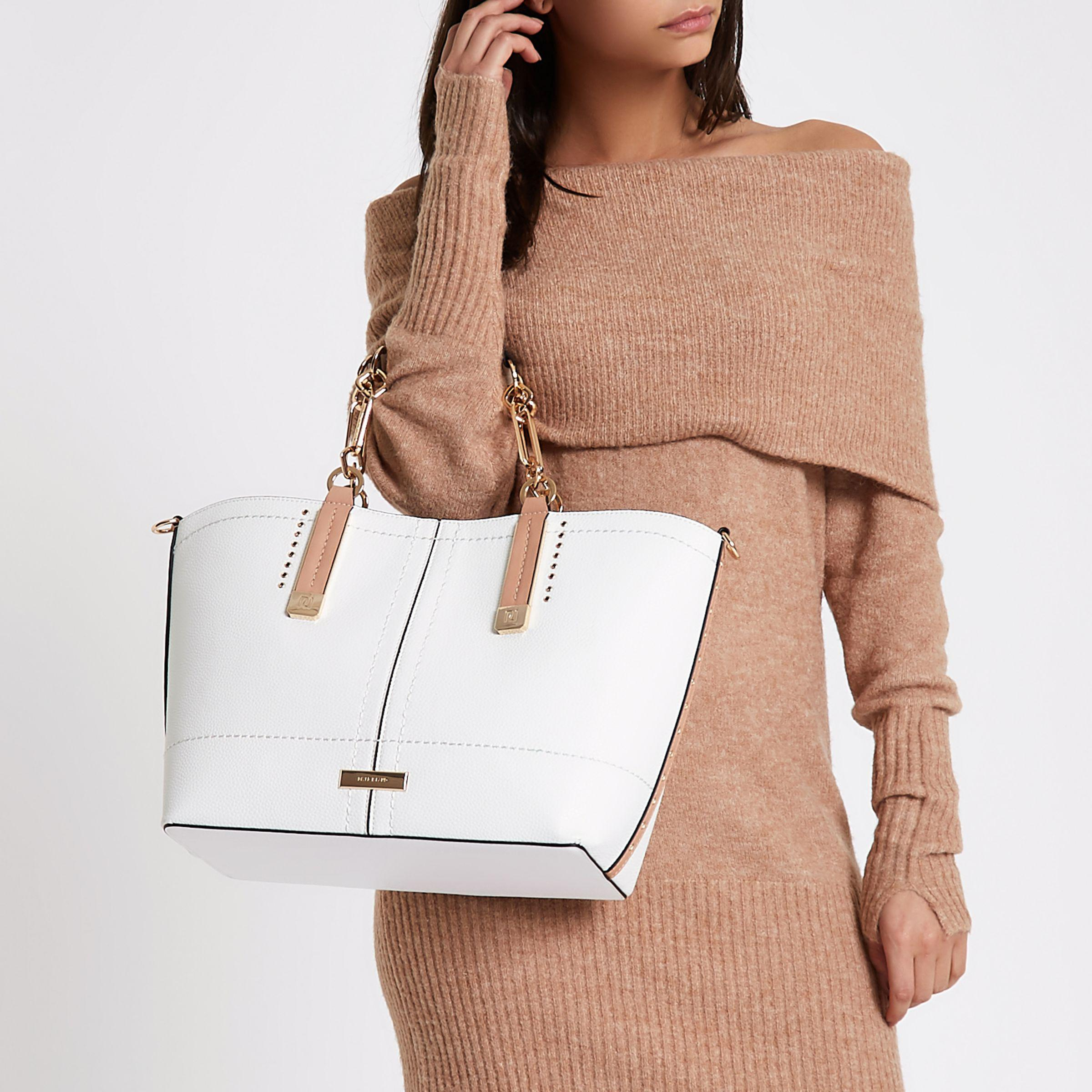 River Island White Winged Contrast Trim Tote Bag