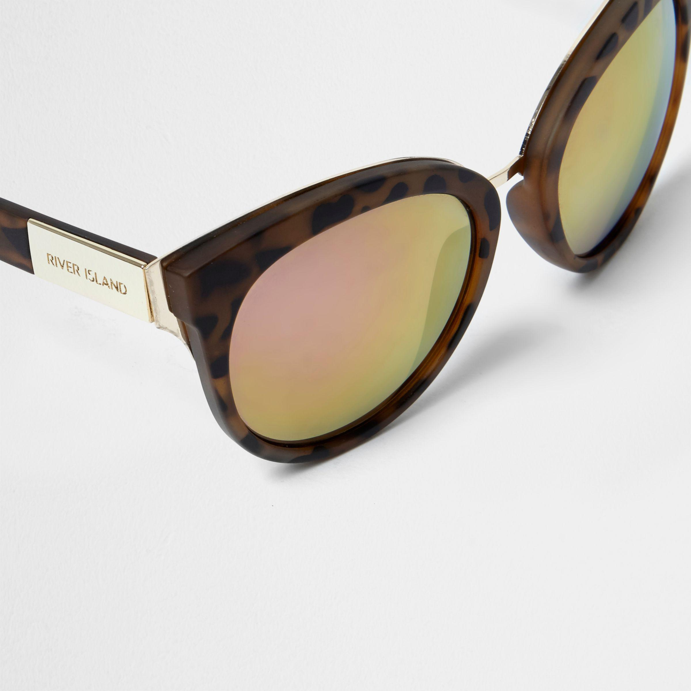 1823554b2e1 Lyst - River Island Khaki Leopard Print Cat Eye Sunglasses