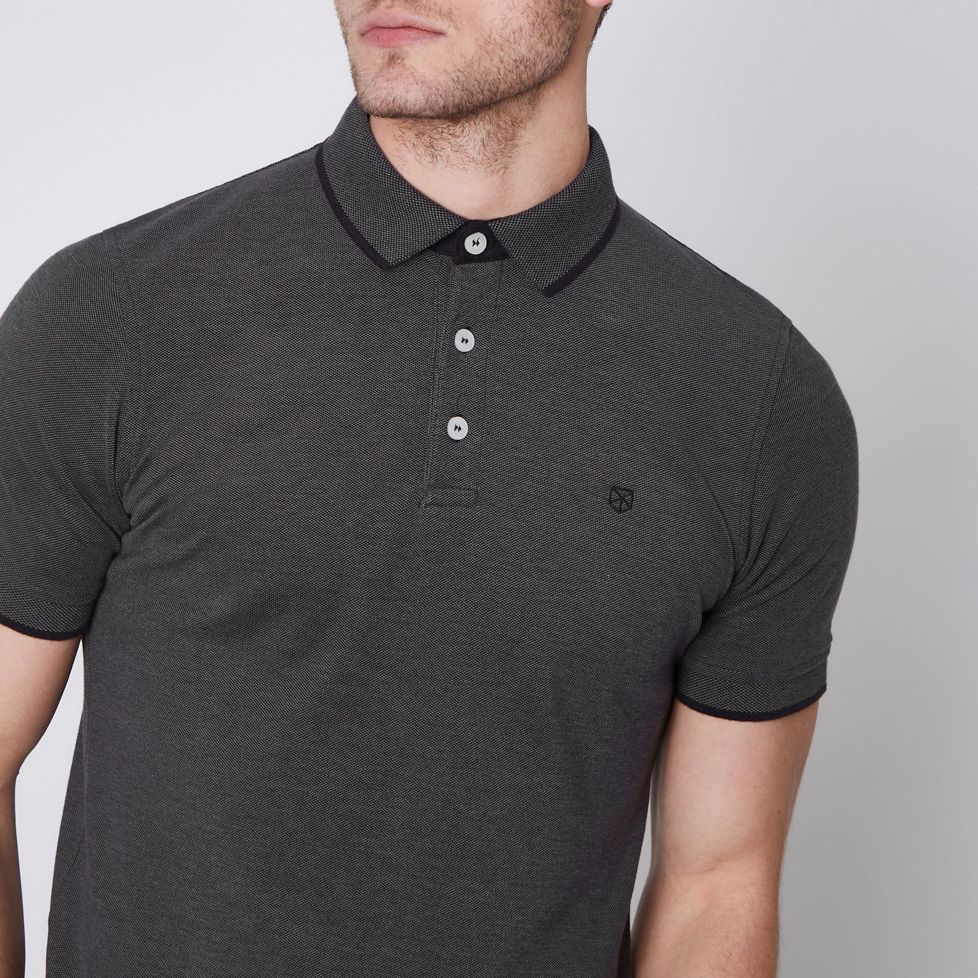 River Island Jack Jones Premium Dark Grey Polo Shirt In Gray For