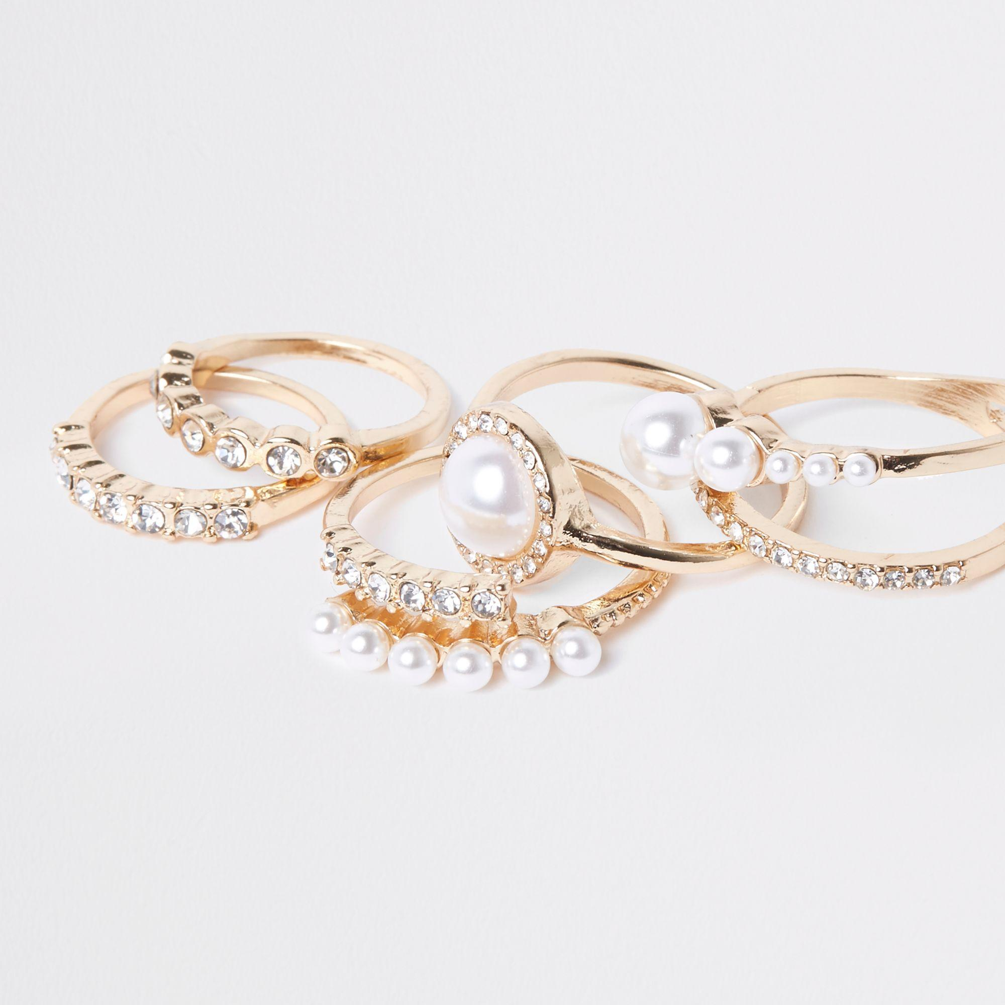 River Island Synthetic Tone Pearl Ring Pack in Gold (Metallic)