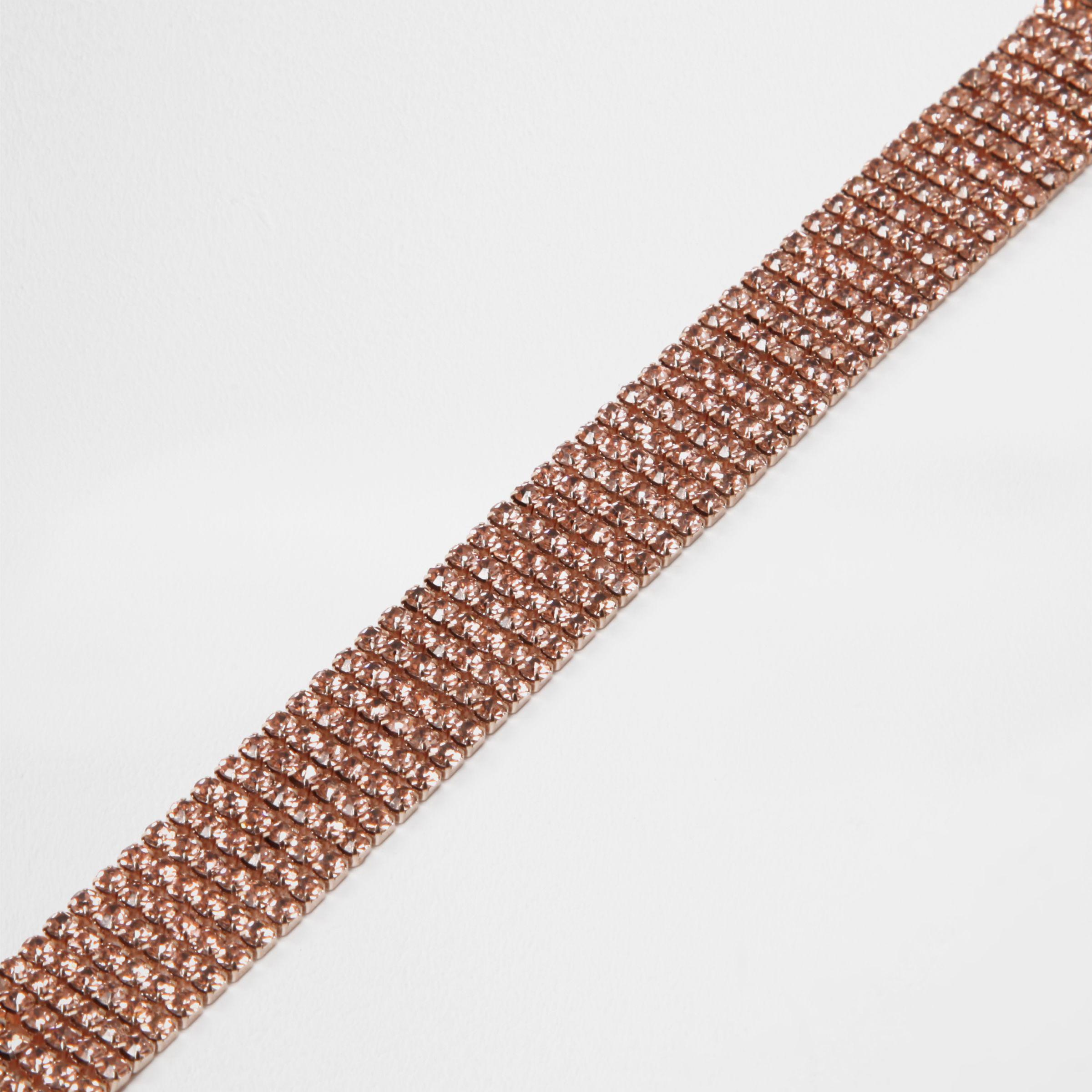 River Island Rose Gold Tone Diamante Choker Necklace Set