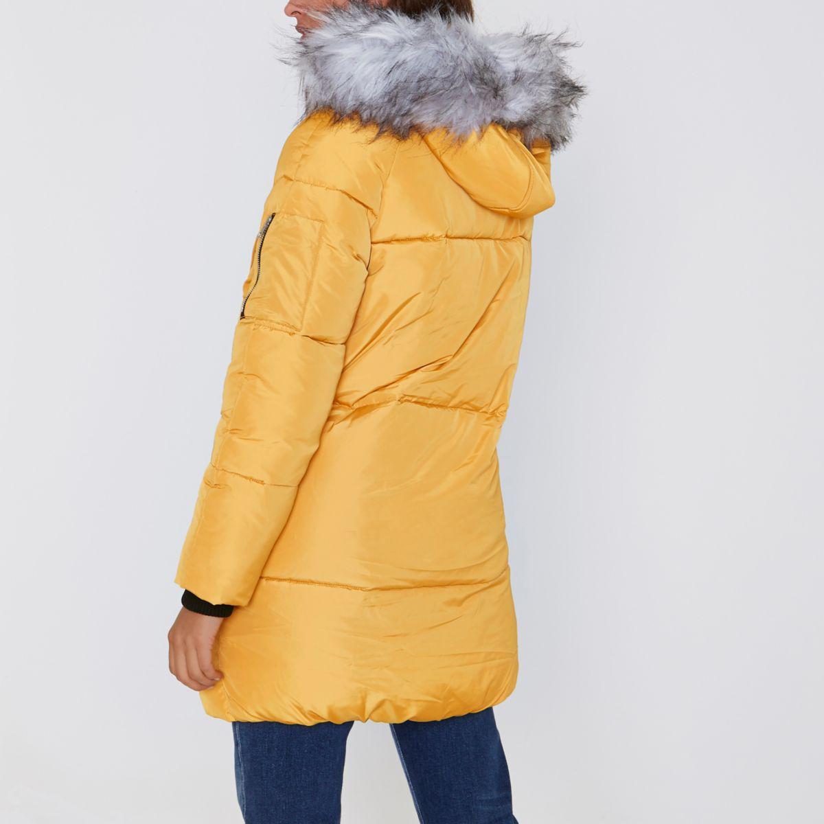 Lyst River Island Yellow Longline Faux Fur Trim Puffer