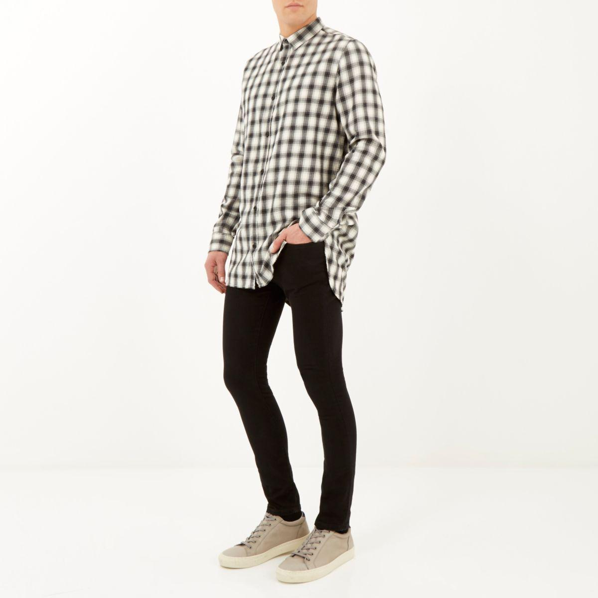 River Island Cotton Ecru Longer Length Check Shirt in Grey for Men