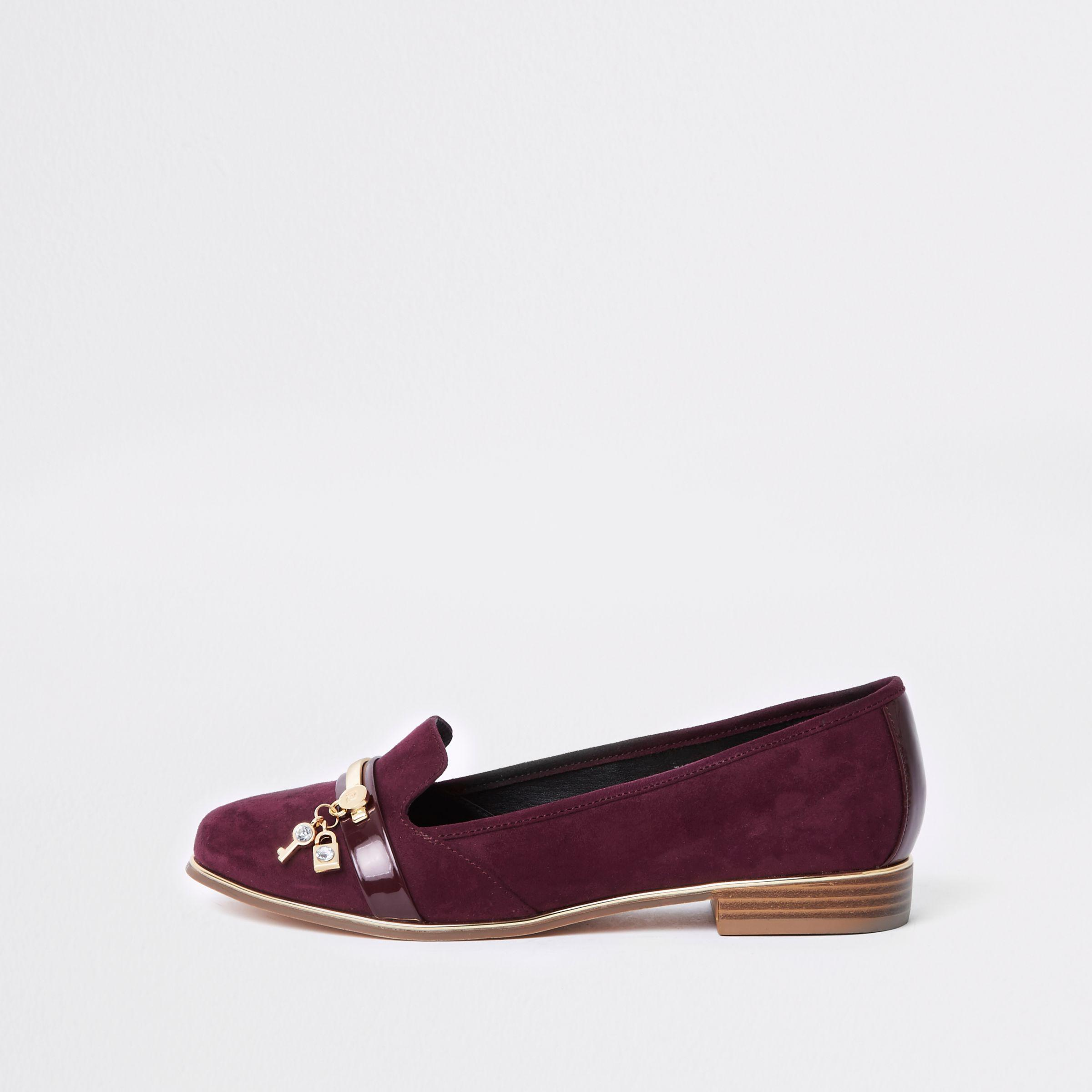 Lyst River Island Dark Red Wide Fit Lock And Key Loafer In D Shoes Slip On Mocasine Casual Loafers Black Womens