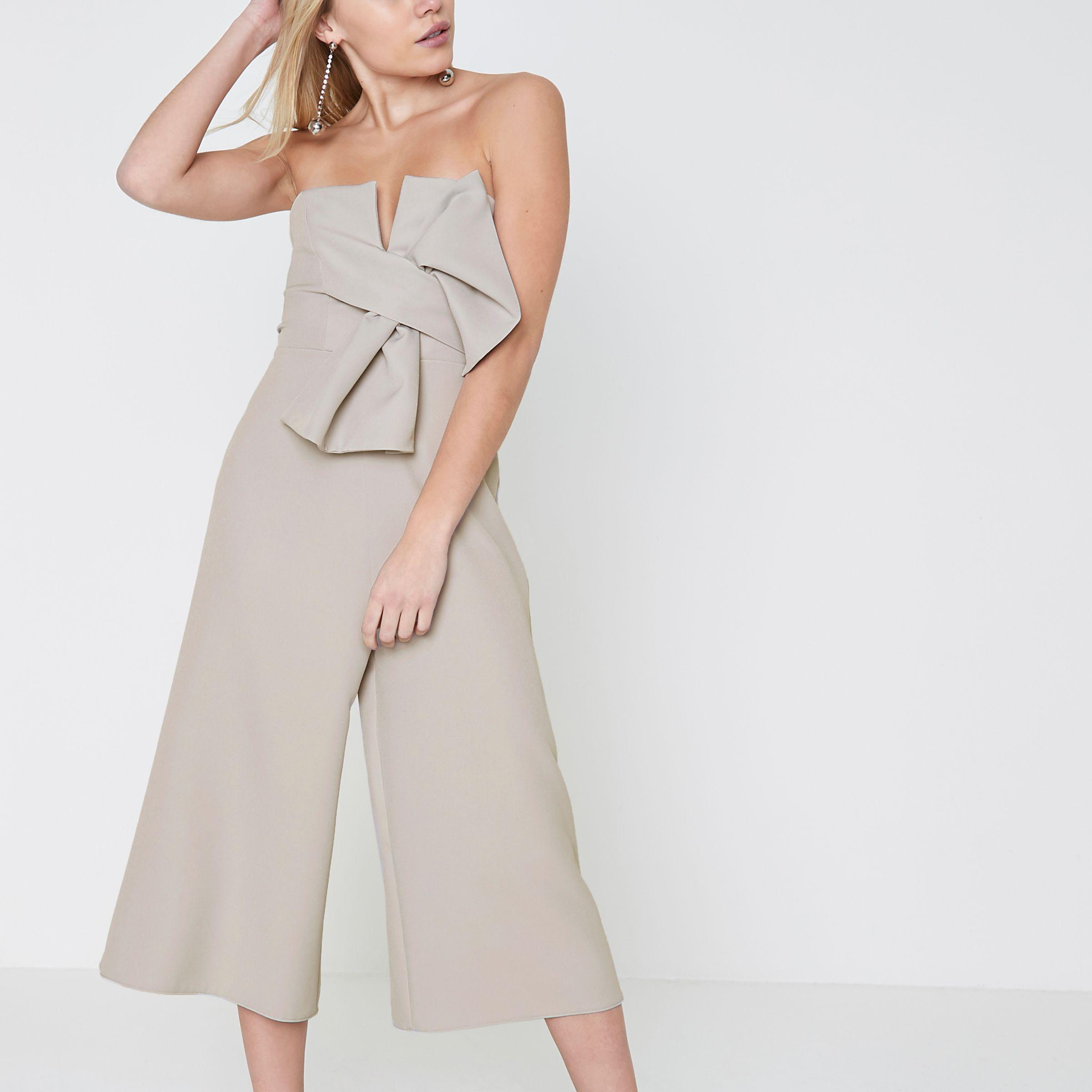 0f3ef261f8ce River Island Petite Grey Bow Bandeau Culotte Jumpsuit in Gray - Lyst