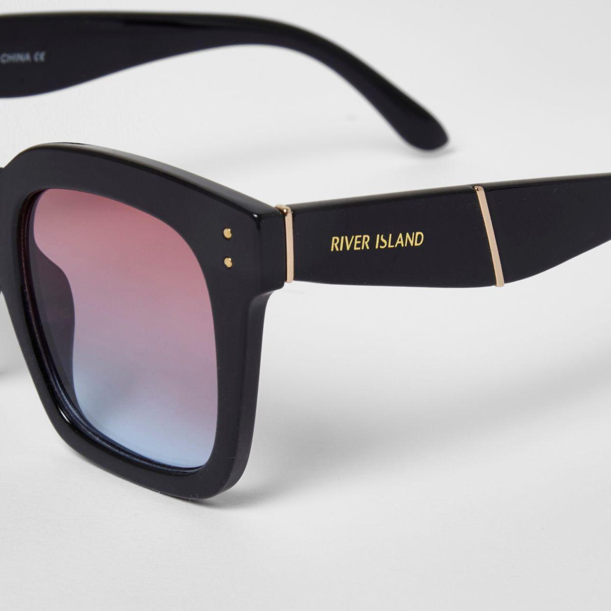 River Island Black Oversized Ocean Lens Sunglasses