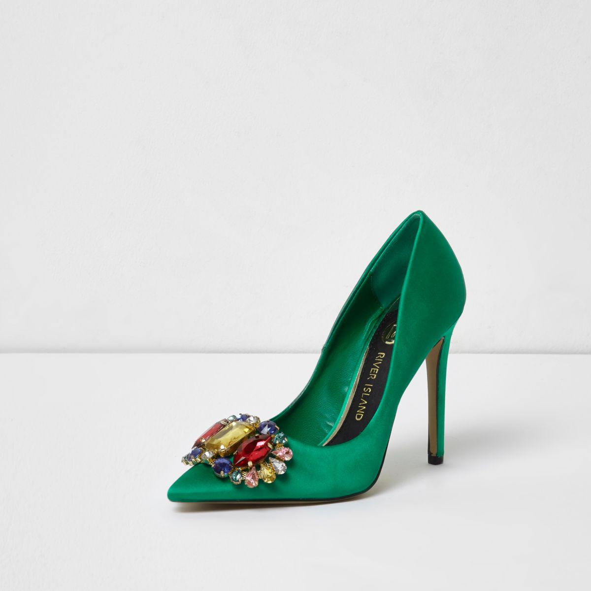290ab1e64d7 Lyst - River Island Green Satin Jewel Embellished Court Shoes Green ...