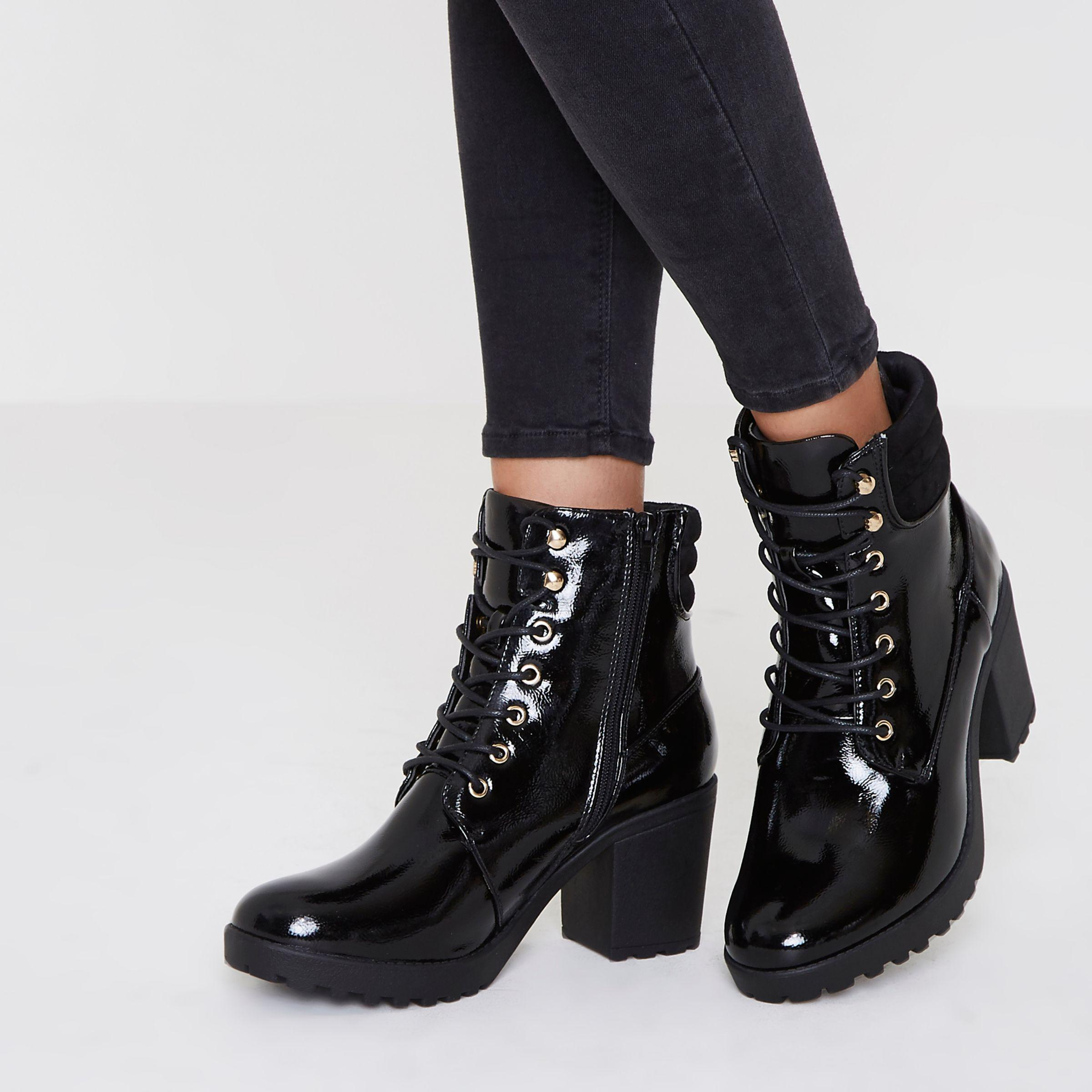 patent lace up chunky boots low price