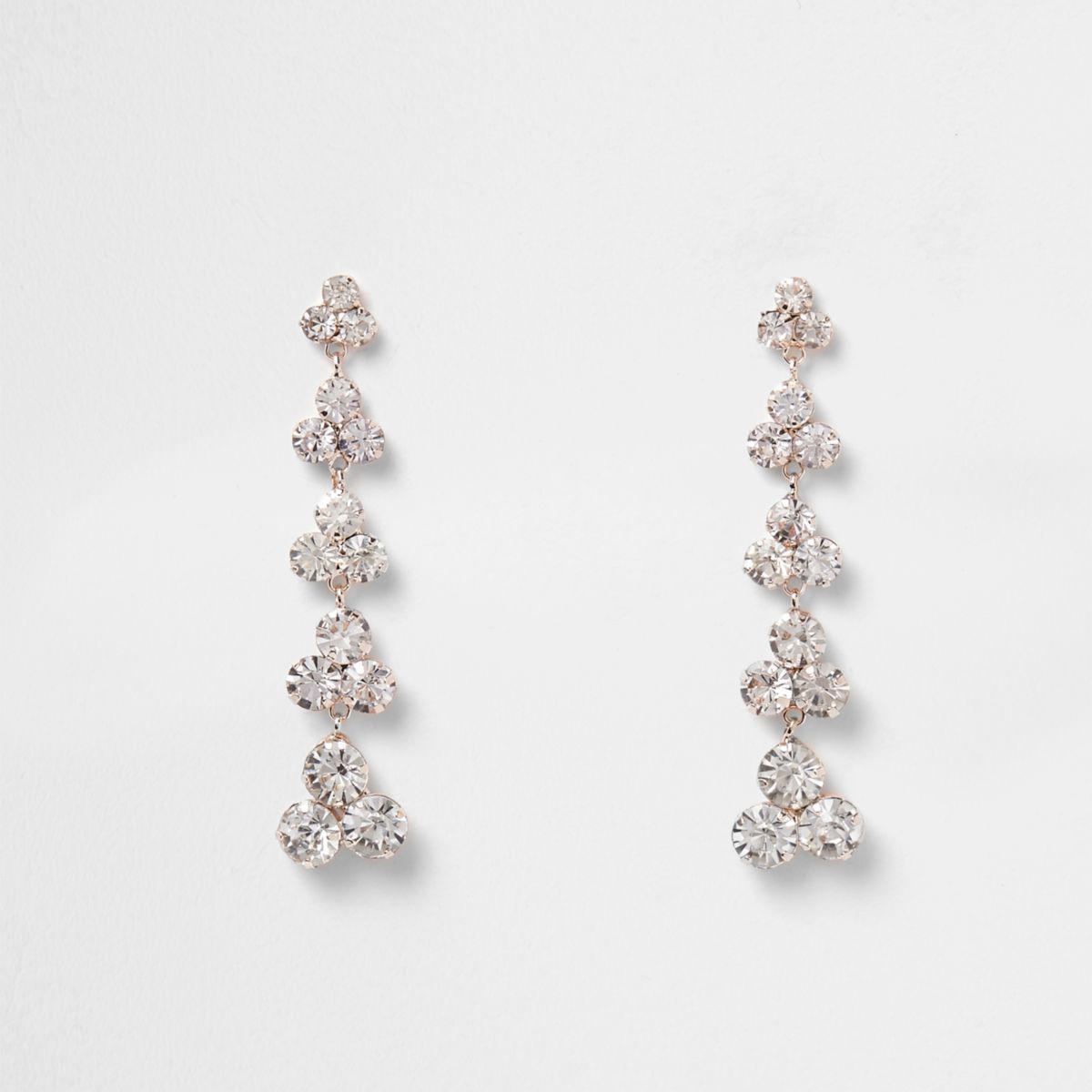 8372af9cb27a6 River Island Metallic Rose Gold Tone Rhinestone Dangle Earrings Rose Gold  Tone Rhinestone Dangle Earrings