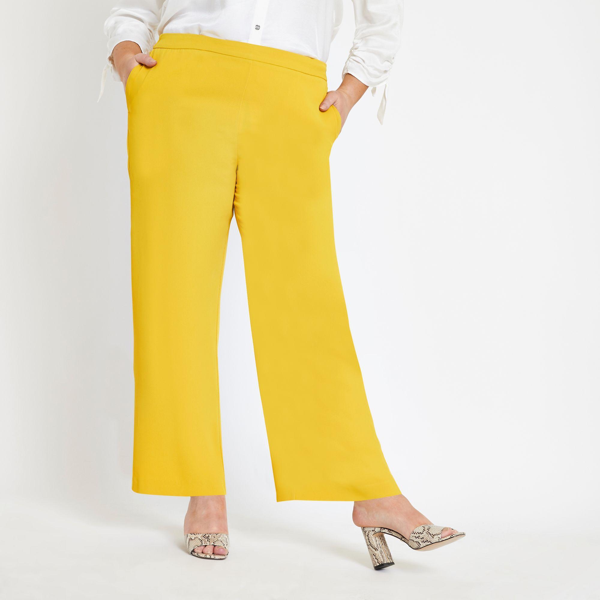 b9438a92d107 River Island - Plus Yellow Wide Leg Pants - Lyst. View fullscreen