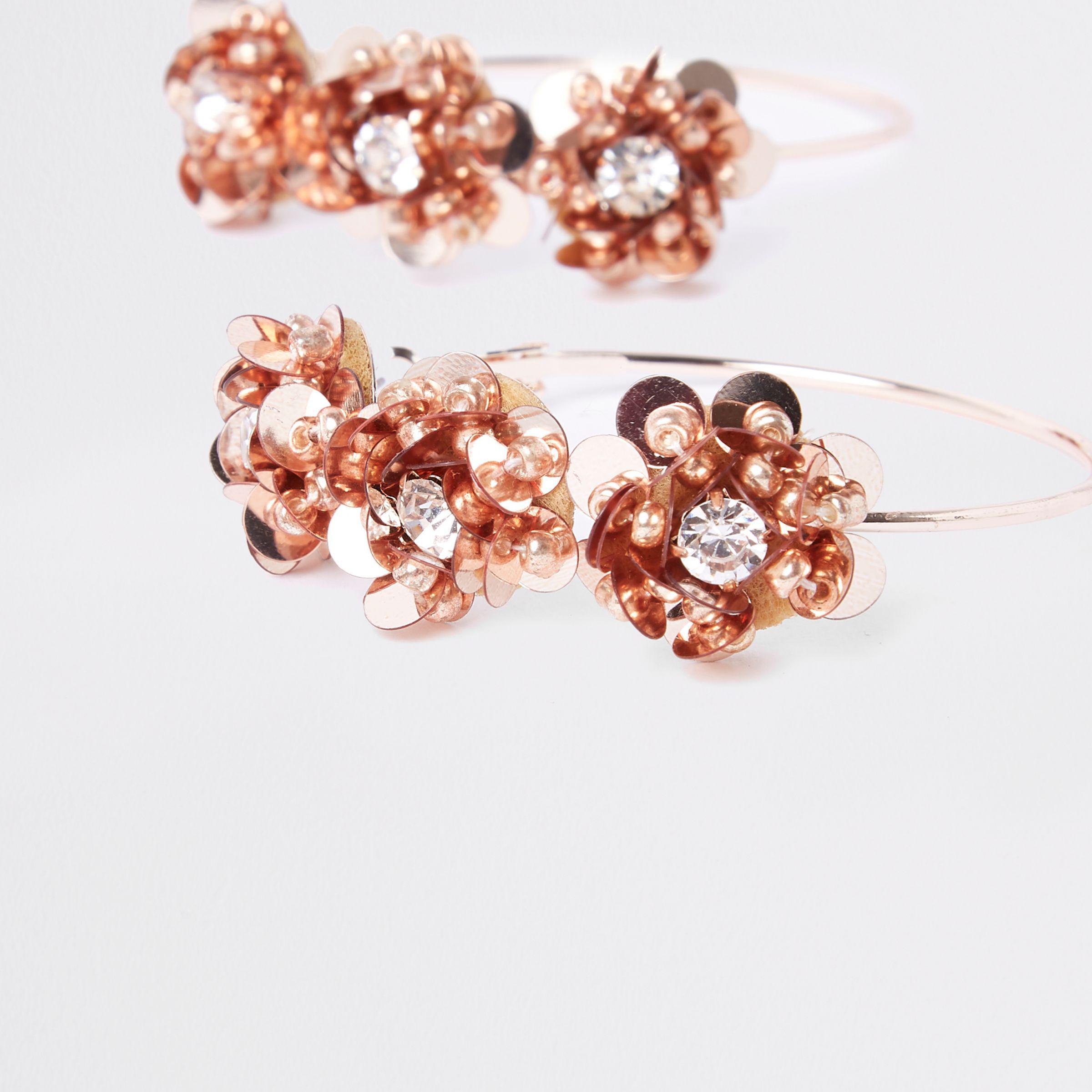 River Island Rose Gold Floral Sequin Hoop Earrings Lyst