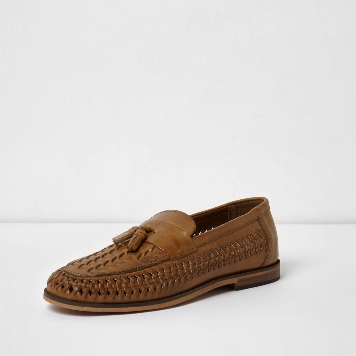 Lyst River Island Tan Leather Woven Tassel Loafers Tan