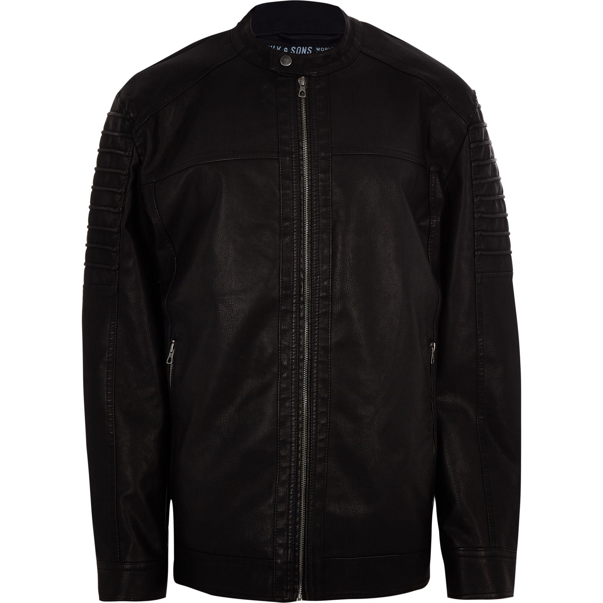 River Island Only And Sons Big And Tall Black Racer Jacket