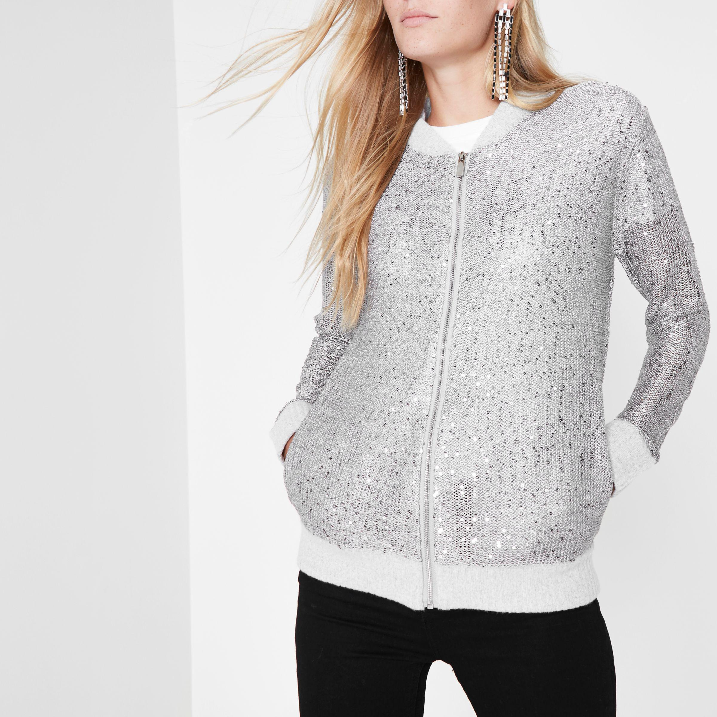 River Island Synthetic Silver Sequin Embellished Knit ...