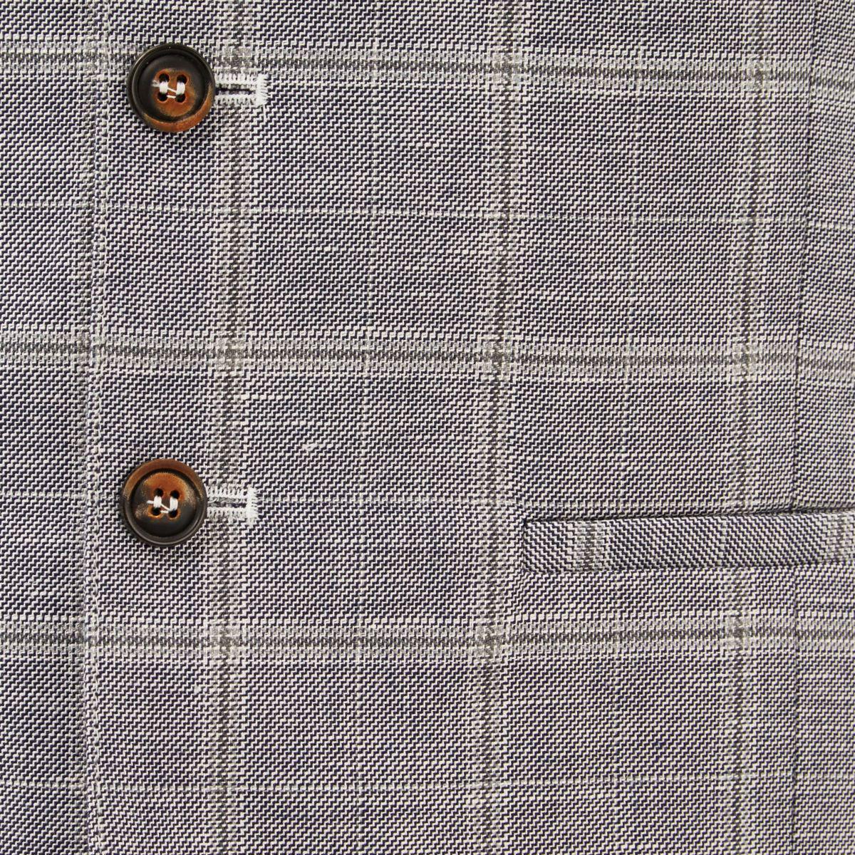 River Island Grey Check Linen-blend Waistcoat in Grey for Men