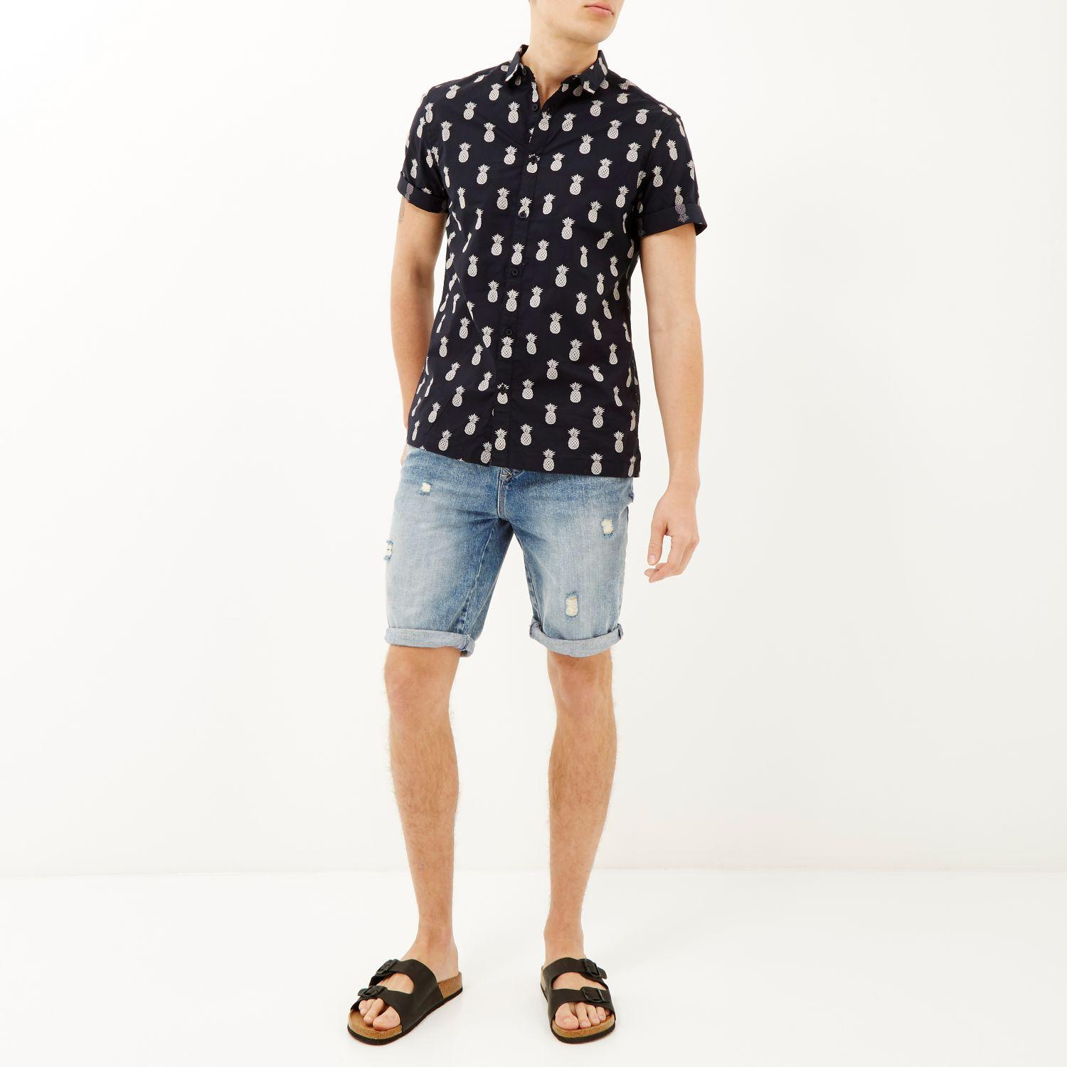 River Island Shirt With Pineapple Print In Navy