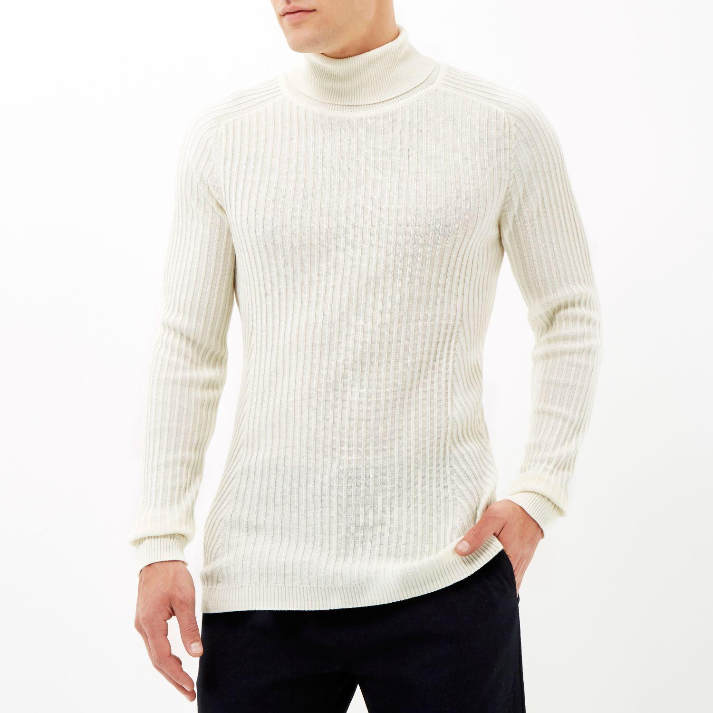 River Island Cotton Ecru Ribbed Roll Neck Jumper in Stone (White) for Men
