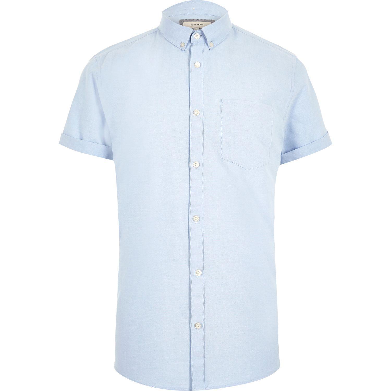 River island light blue casual short sleeve oxford shirt for Light blue short sleeve shirt mens