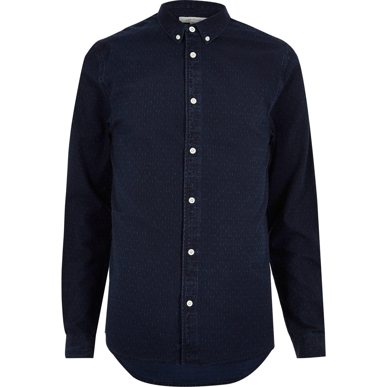 river island dark blue wash denim shirt in blue for men lyst