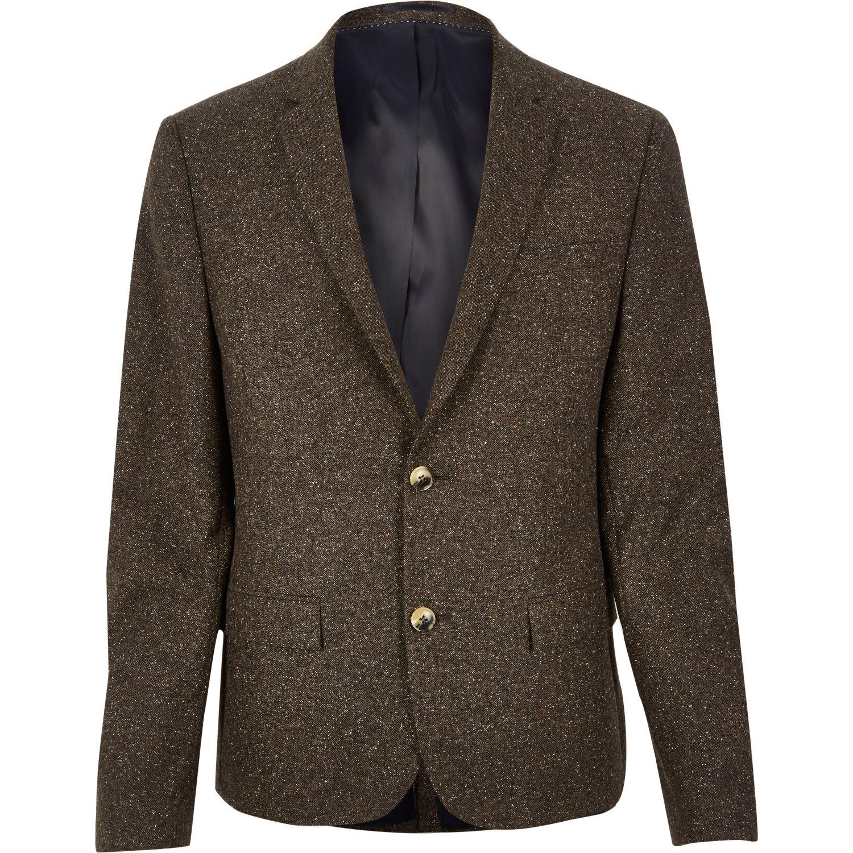River island men s brown wool skinny suit jacket 110 from river island