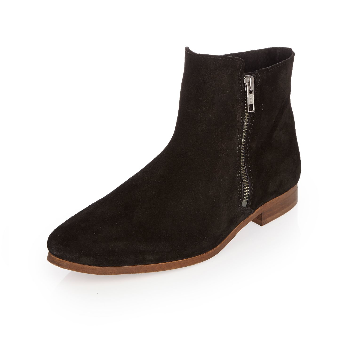 river island black suede zipped chelsea boots in brown lyst