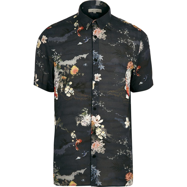 River island navy fish print short sleeve shirt in blue for Fish print shirt